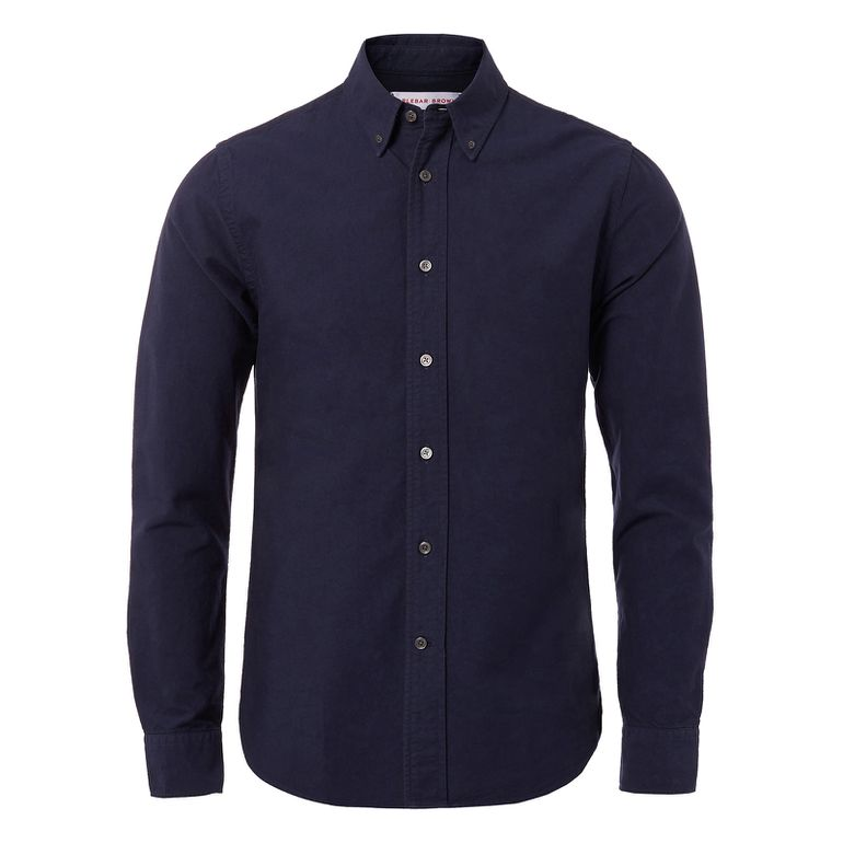Orlebar Brown Navy Oxford OLIVER Navy Cotton Tailored-Fit Button-Down Shirt