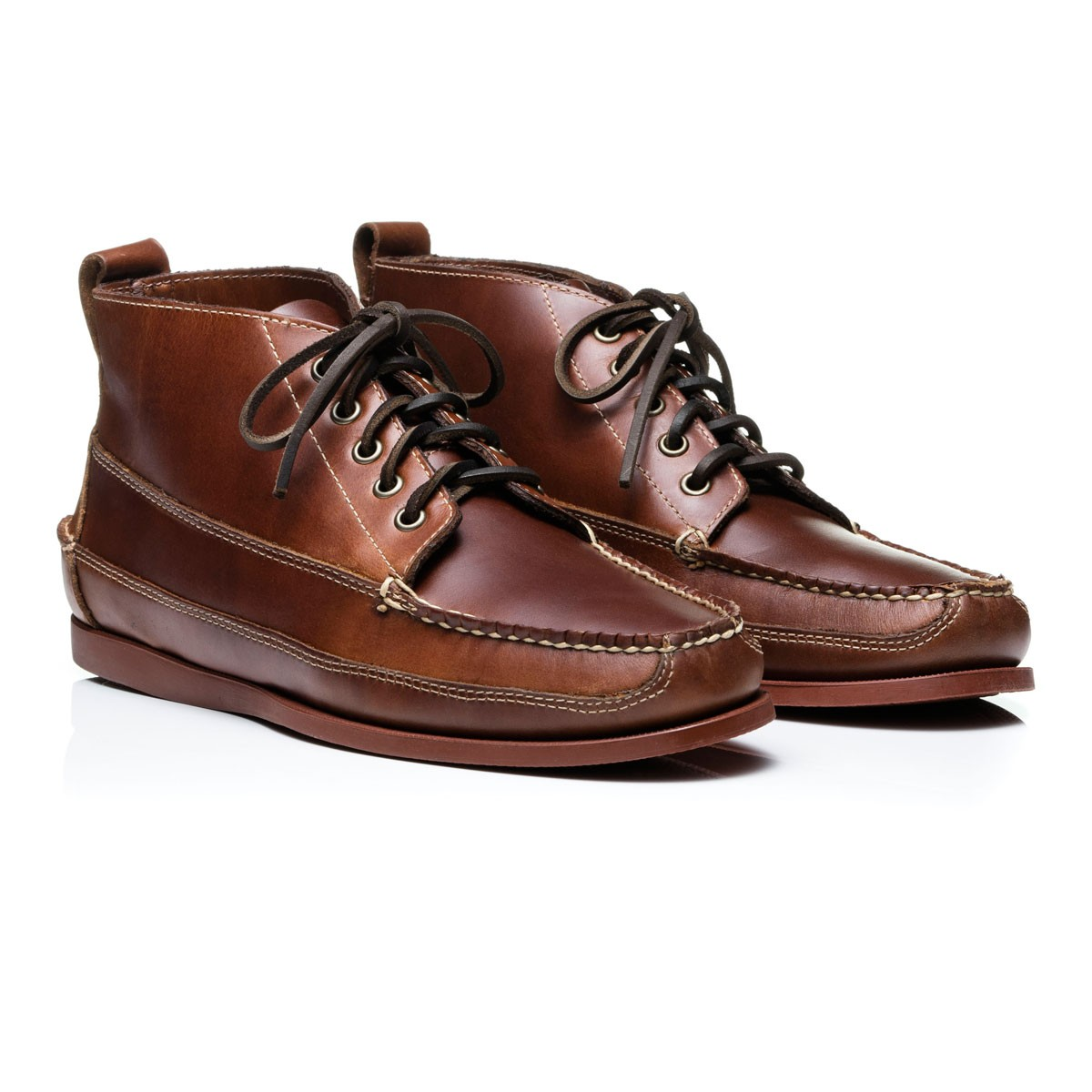 G.H. Bass & Co. Mid Brown Leather Camp Moc Ranger Pull Up Leather Boots Mid Brown