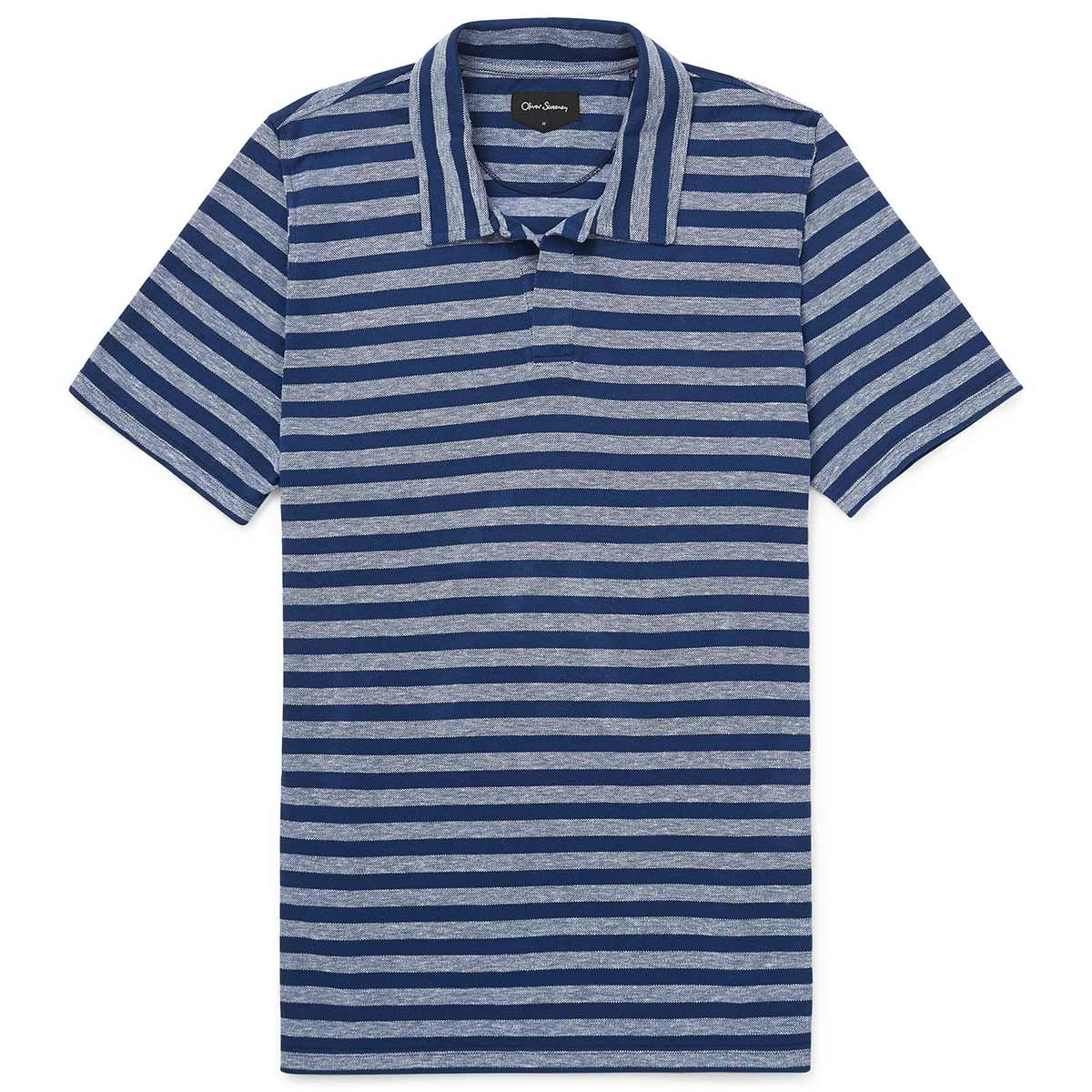 Oliver Sweeney Ardaos Blue - Cotton/Linen Striped Pique Polo