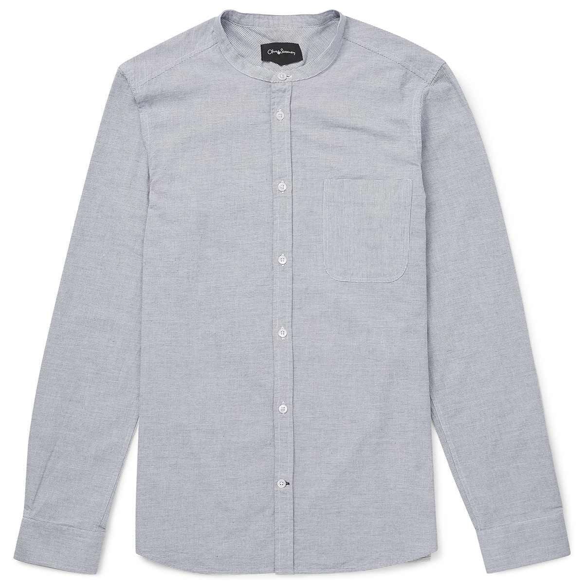 Oliver Sweeney Styles Blue/White - Striped Cotton Grandad Collar Shirt