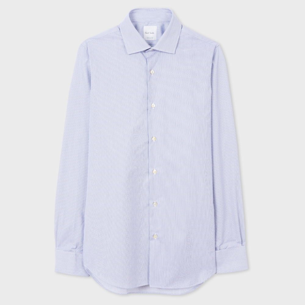 Paul Smith Men's Tailored-Fit Light Blue Pinstripe Double-Cuff Shirt