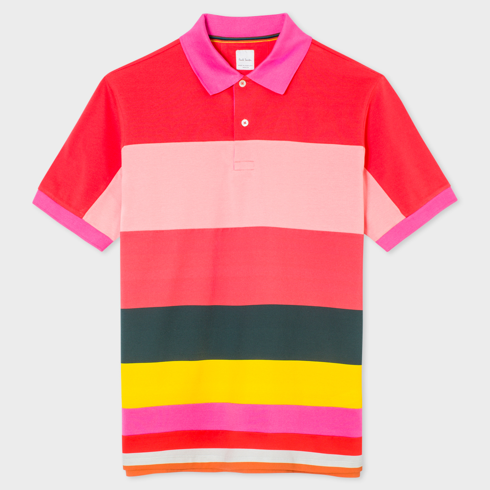Paul Smith Men's Slim-Fit Pink Pieced Block-Stripe Polo Shirt