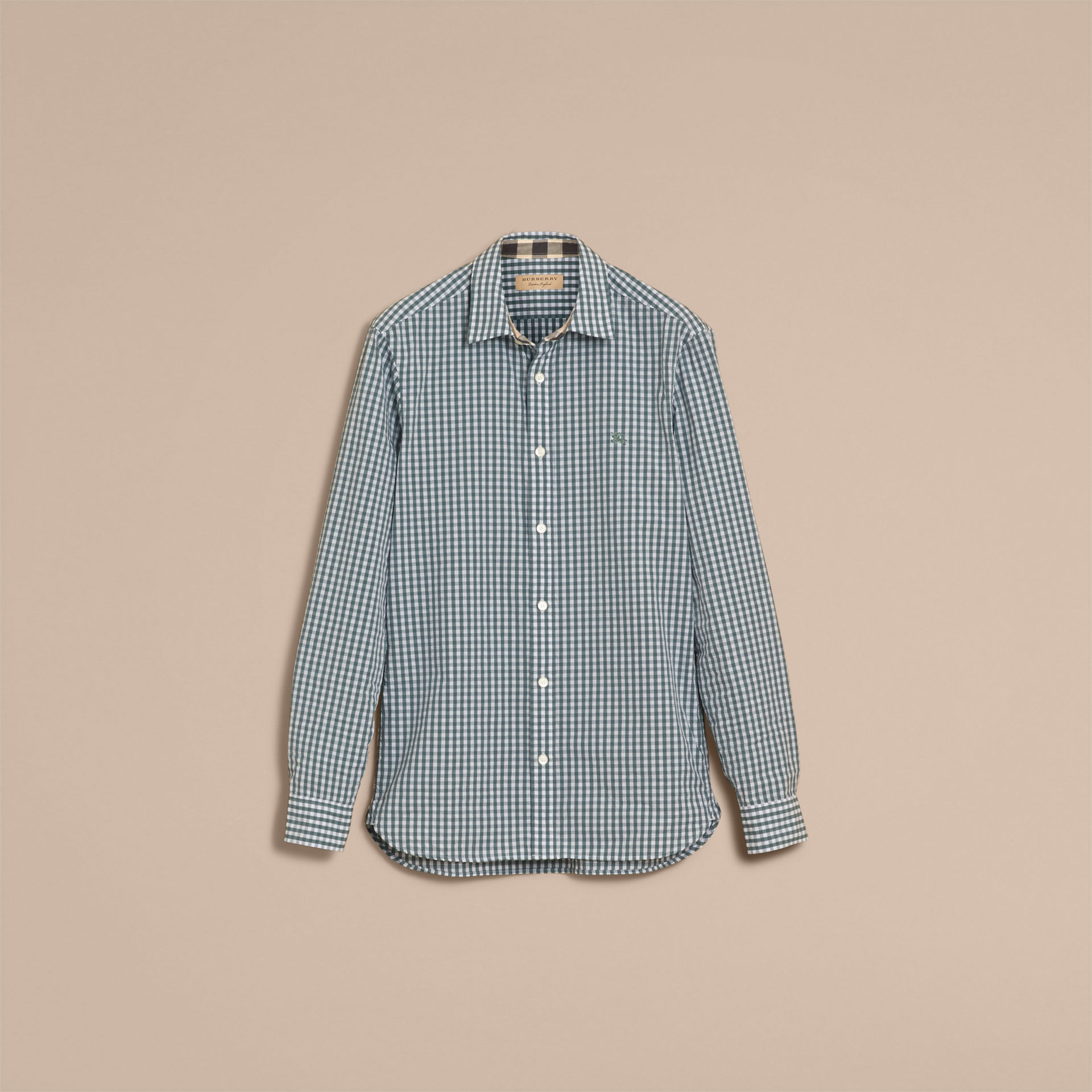 Burberry Dusty Teal Blue Gingham Cotton Poplin Shirt with Check Detail