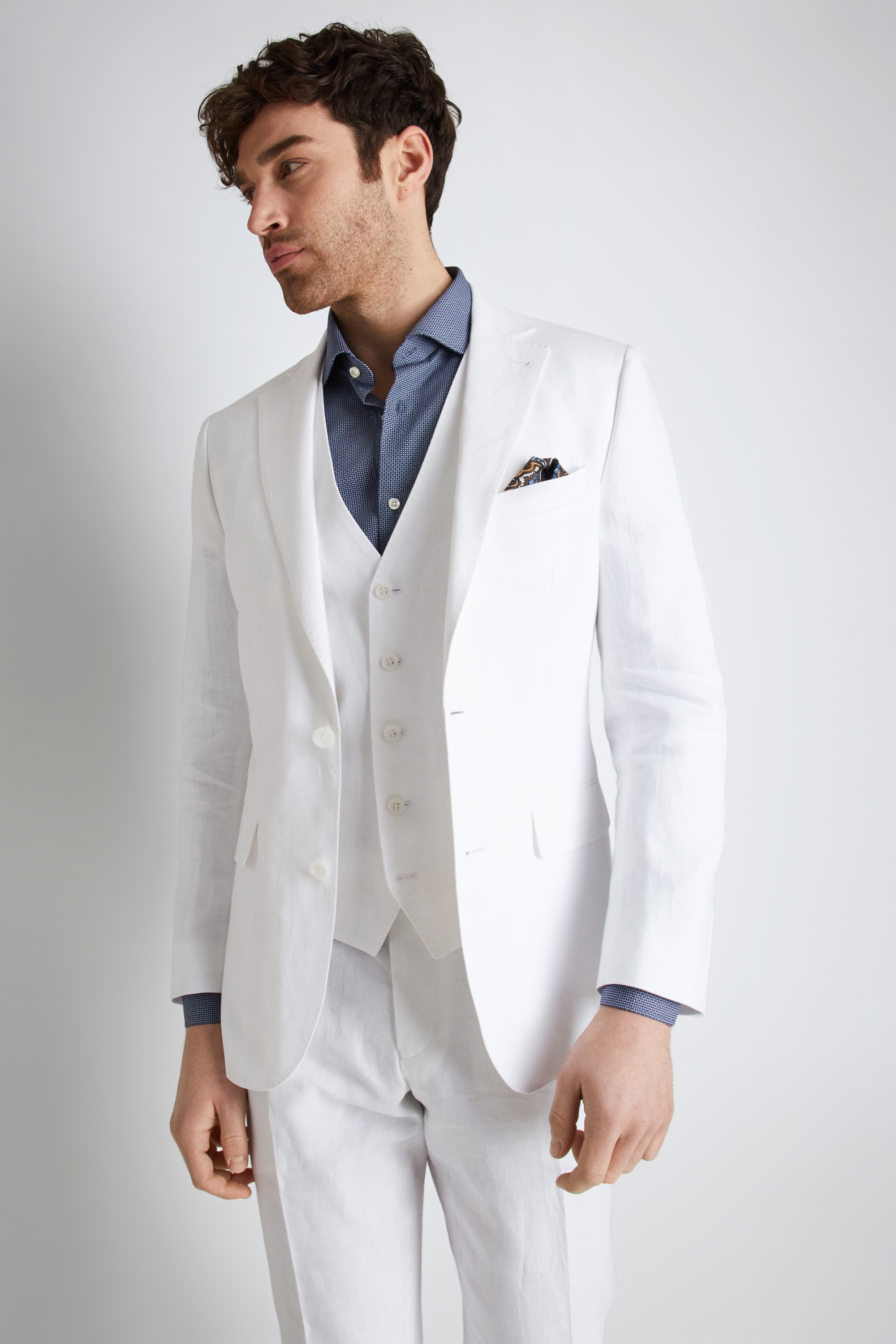 Moss Bros Moss 1851 Tailored Fit White Linen Jacket