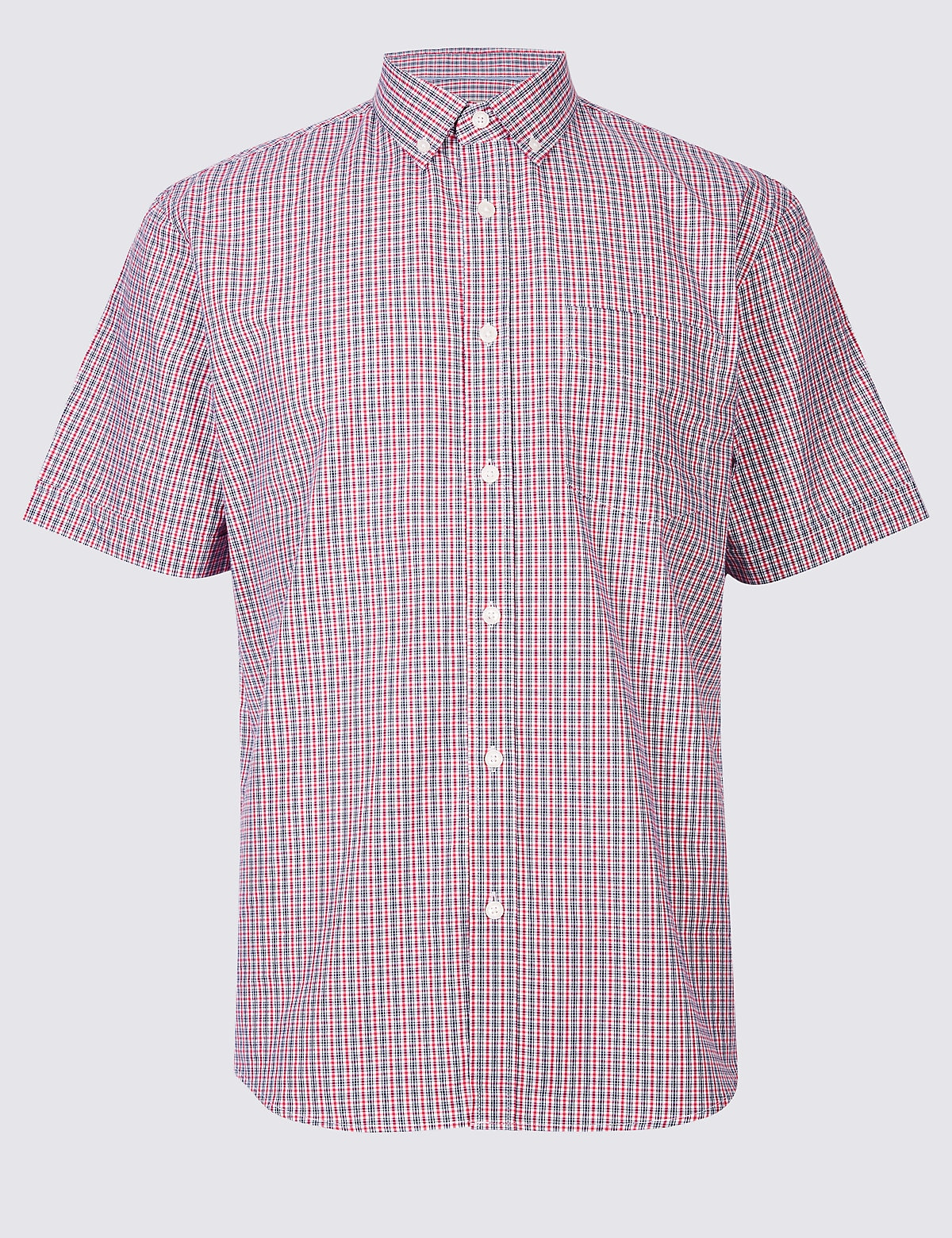 Marks & Spencer Bright Pink Pure Cotton Checked Shirt with Pocket