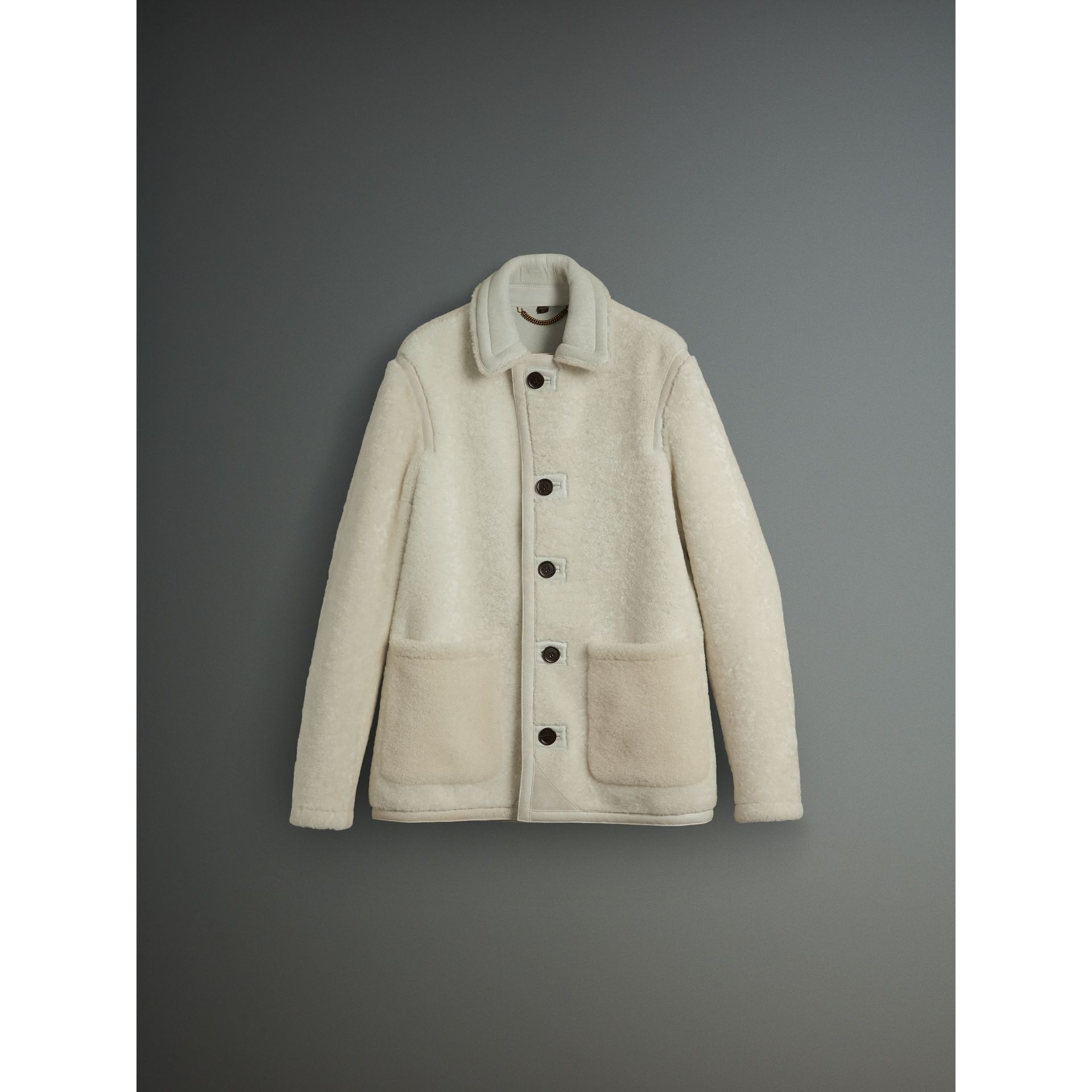 Burberry White Shearling Jacket