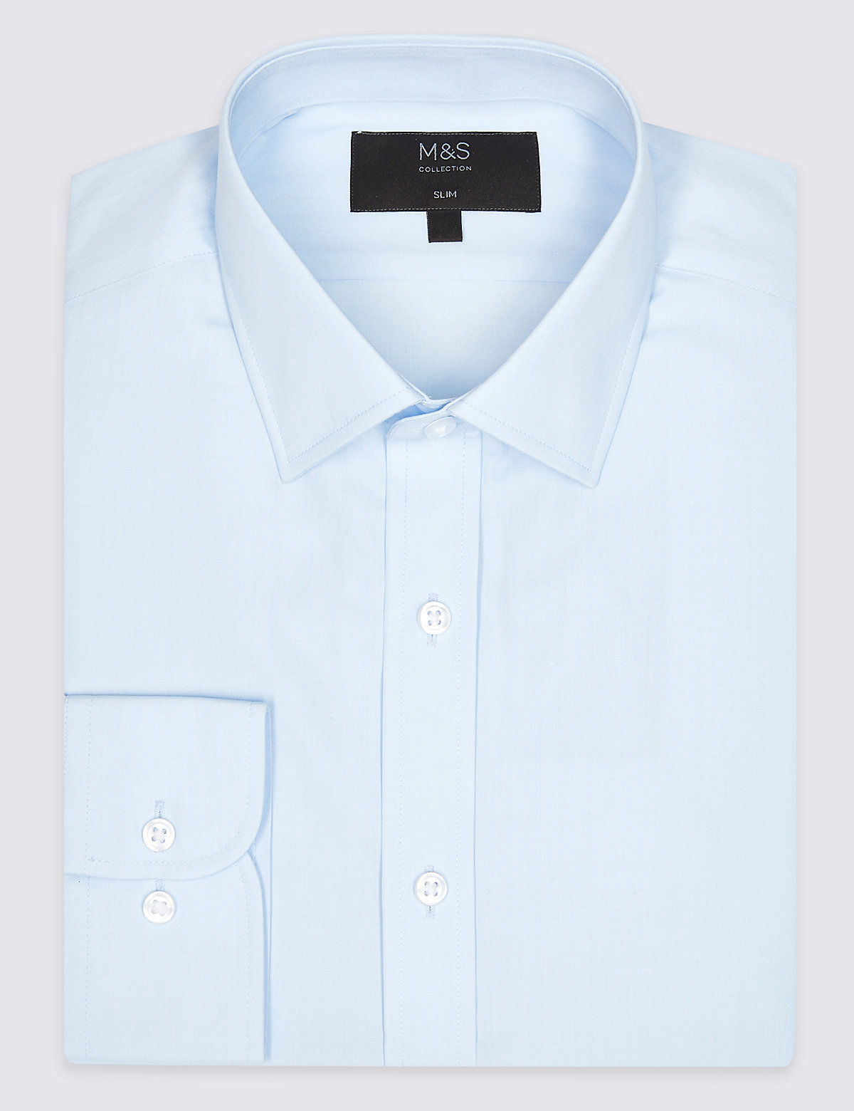 Marks & Spencer Sky Blue Cotton Blend Slim Fit Shirt