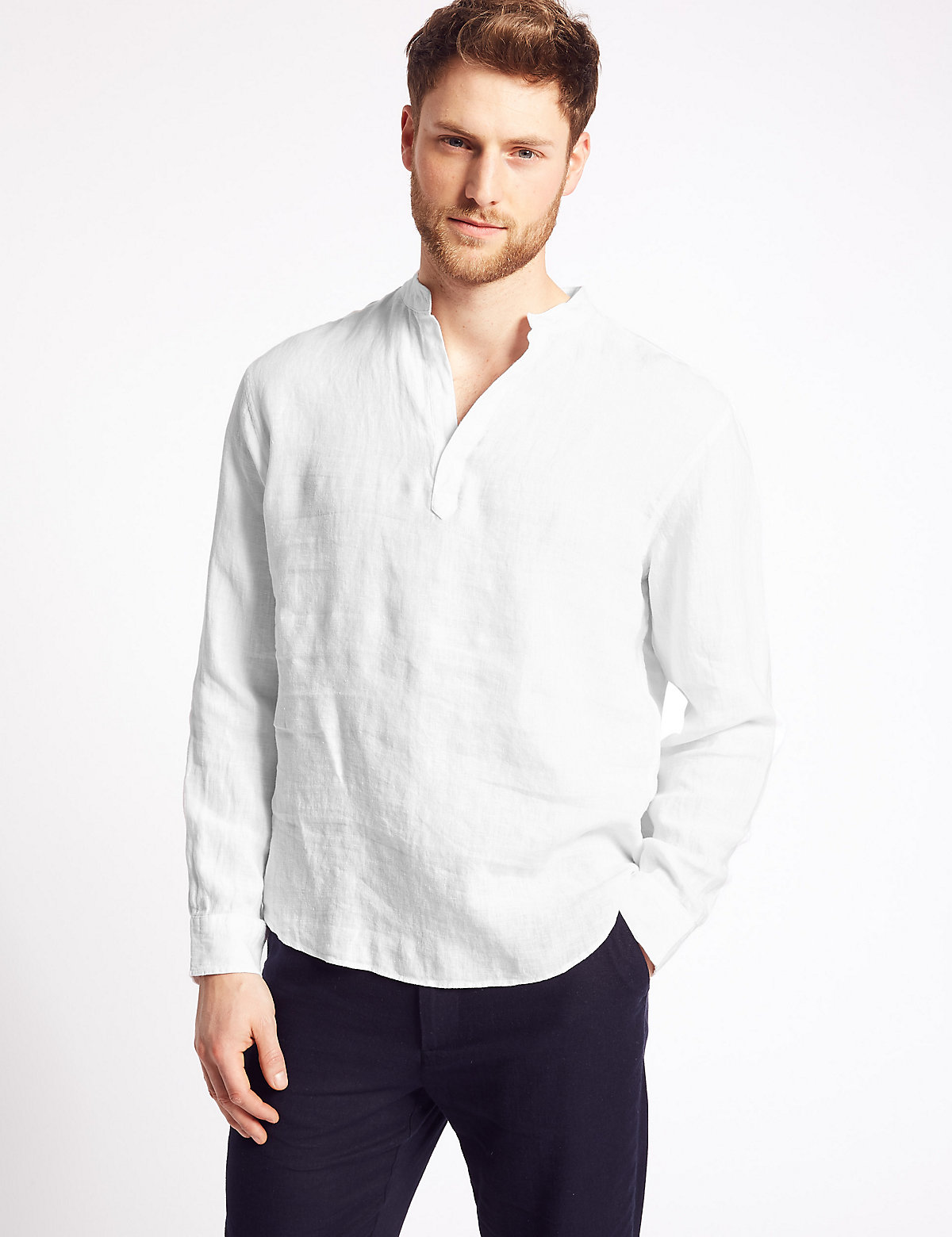 acc66483716591 Pure Linen Overhead Shirt by Marks & Spencer — Thread