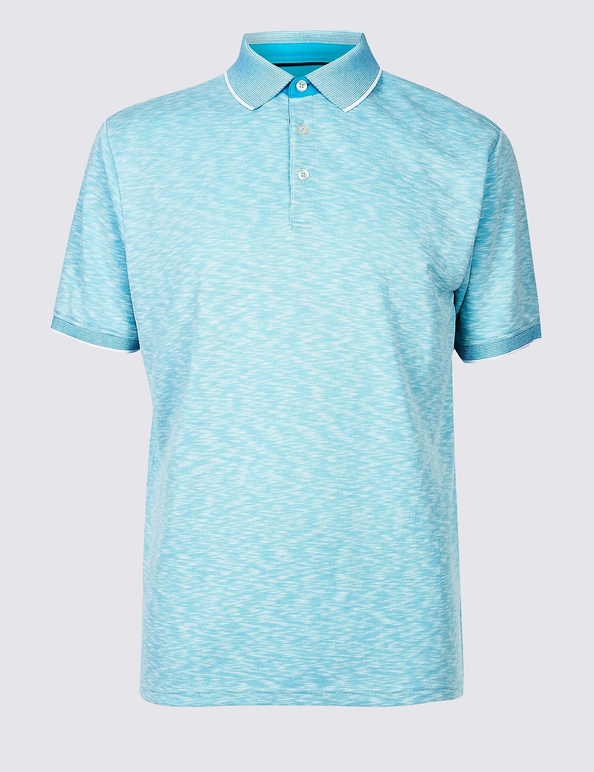 Marks & Spencer Aqua Mix Slim Fit Modal Rich Textured Polo Shirt