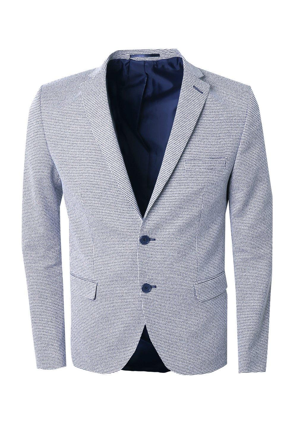 boohooMAN navy Mini Check Skinny Fit Suit Jacket