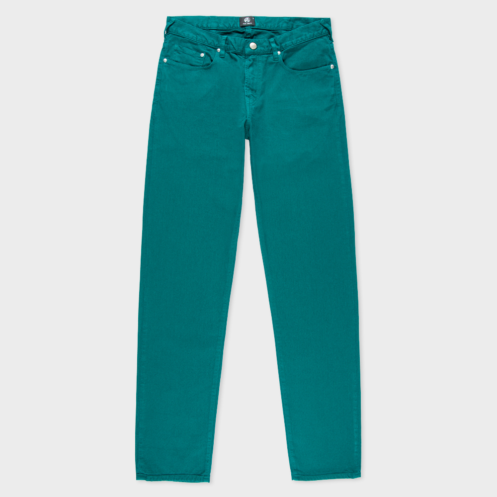 Paul Smith Men's Tapered-Fit Sea Green Garment-Dyed Jeans