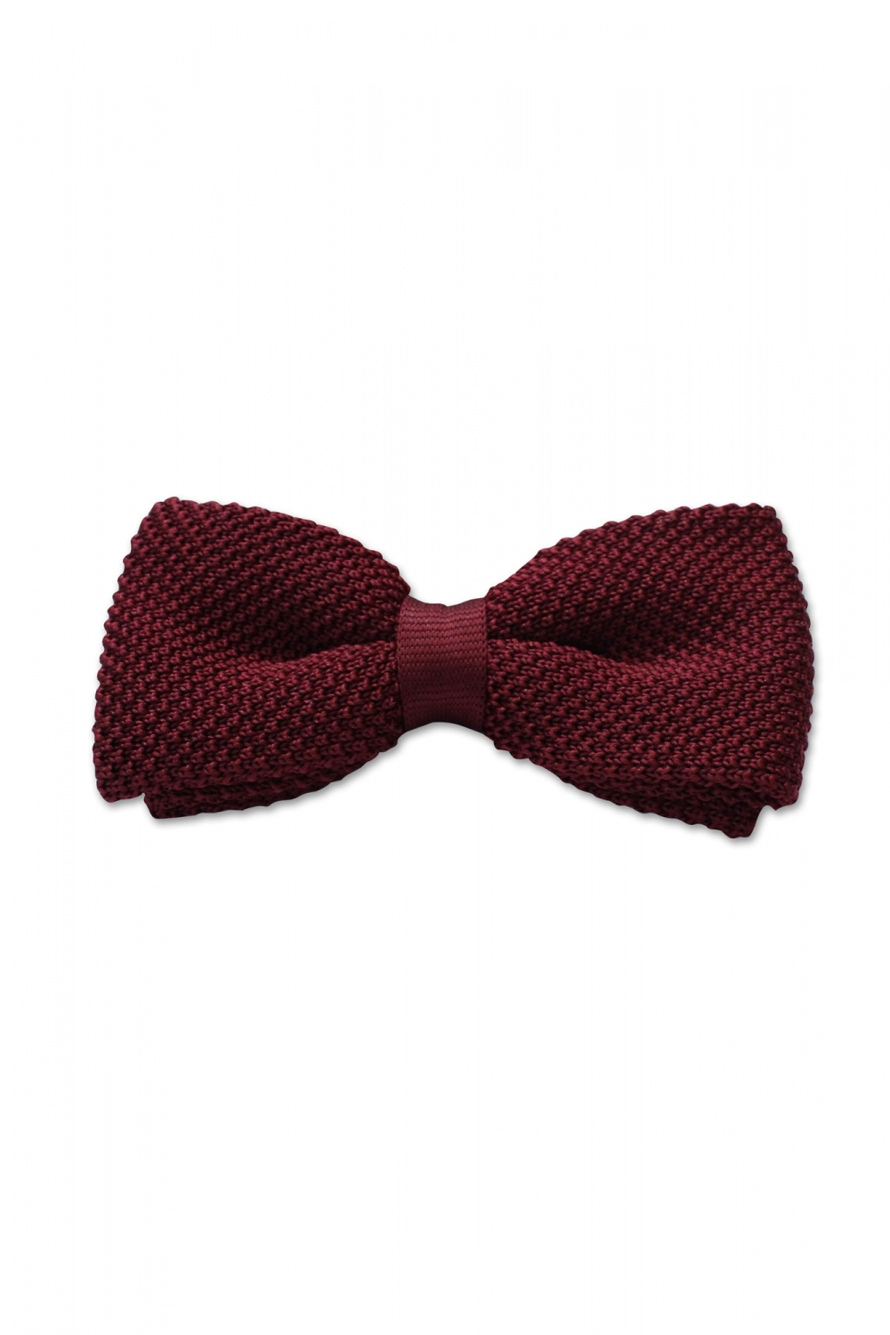 Noose & Monkey Bowie Plain Knitted Bow Tie Burgundy