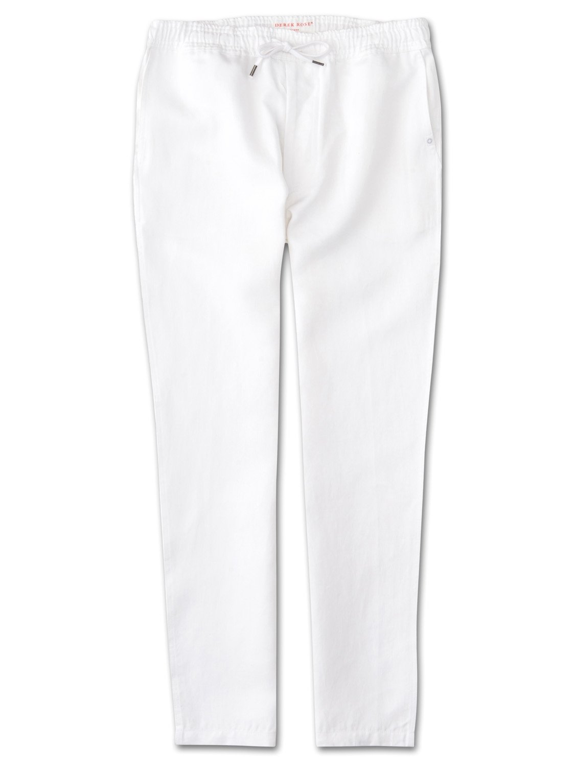 Derek Rose Men's Linen Trousers — Sydney Linen White