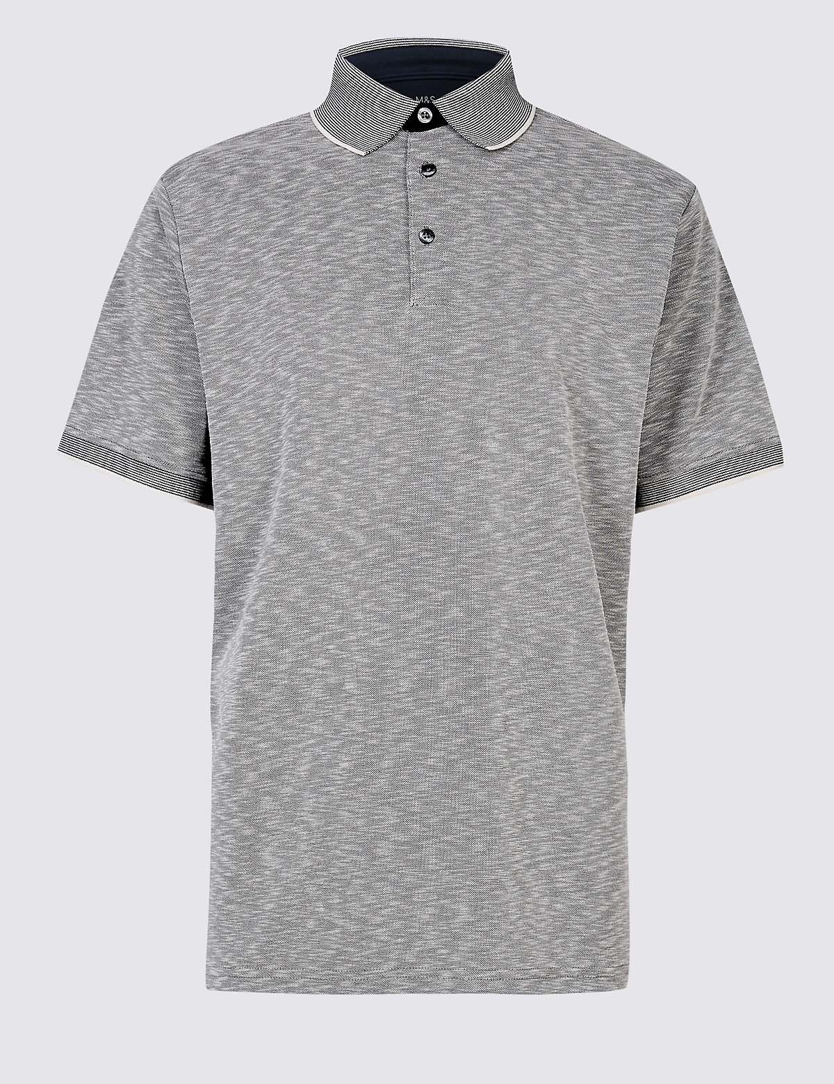 Marks & Spencer Navy Mix Slim Fit Modal Rich Textured Polo Shirt