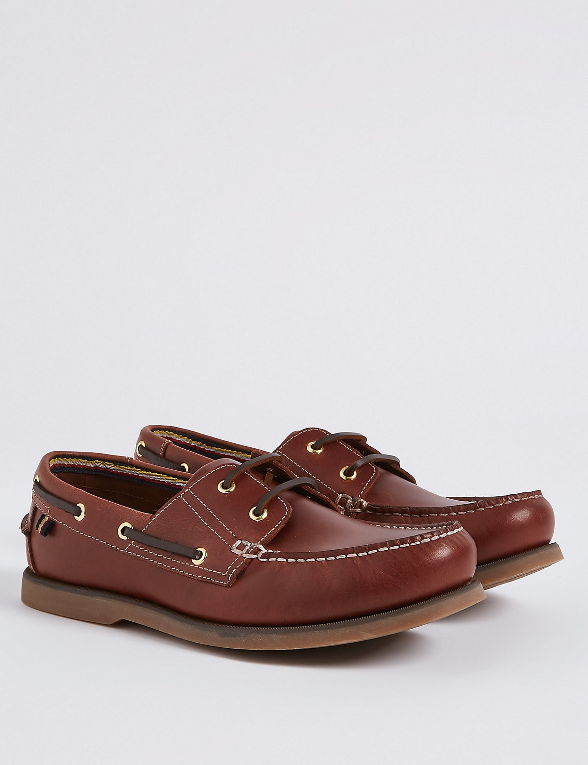 Marks & Spencer Rich Brown Leather Lace-up Boat Shoes with Freshfeet™