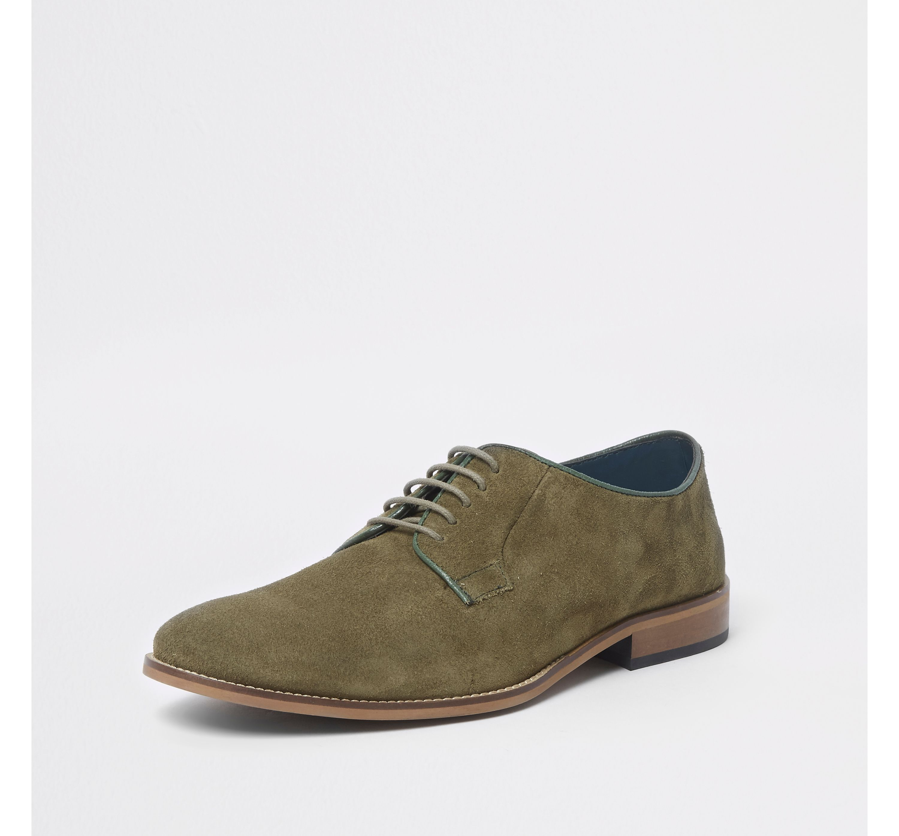 River Island Mens Green suede piping lace-up derby shoes