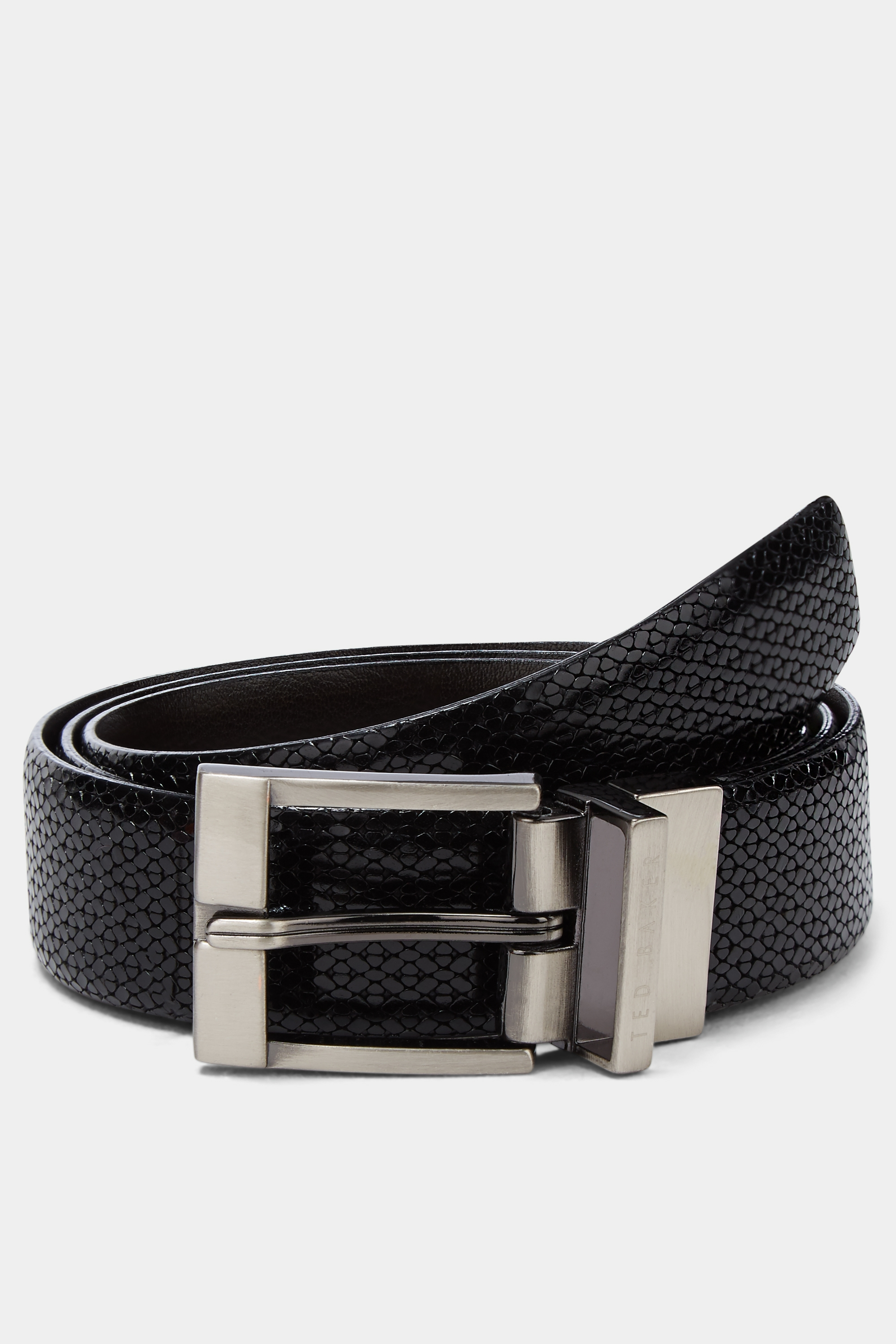 Ted Baker Black Inka Woven Reversible Leather Belt