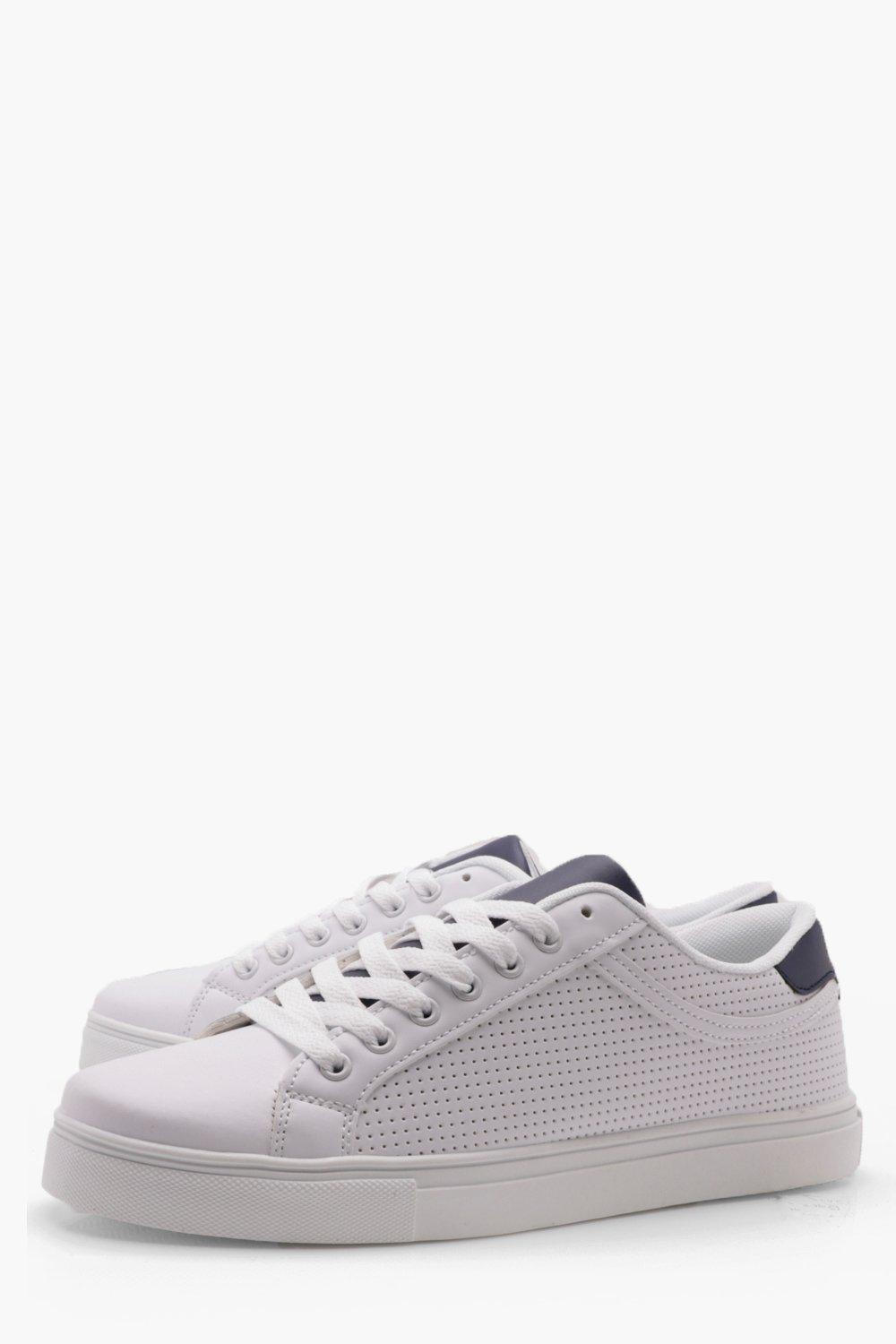 boohooMAN white Ponched Lace Up Trainer