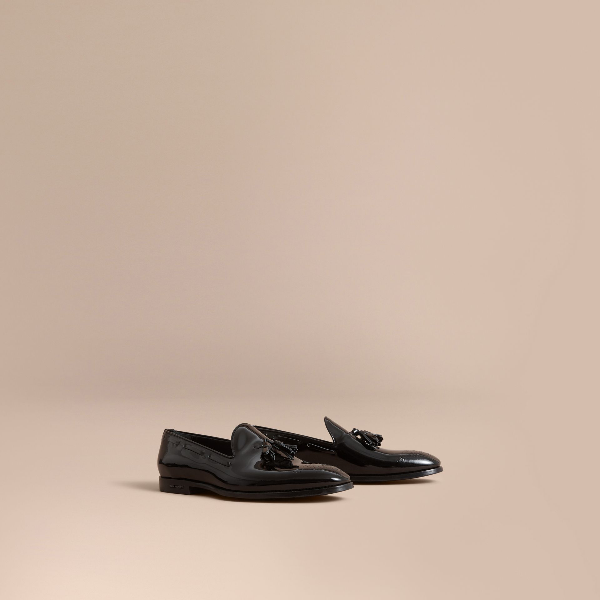 Burberry Black Tasselled Patent Leather Loafers
