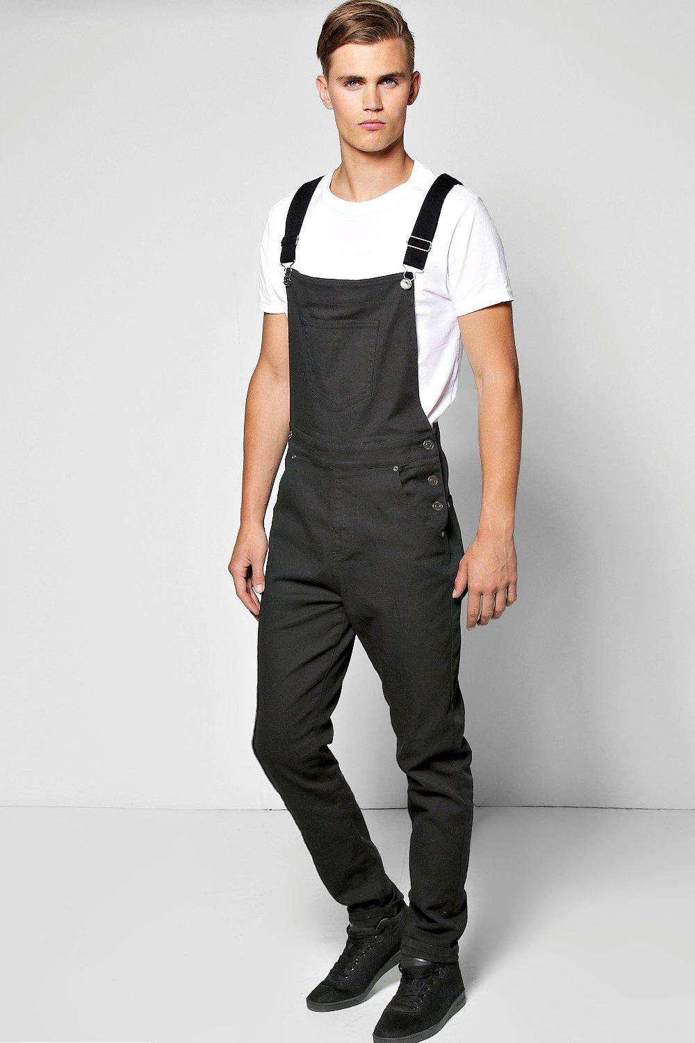 boohooMAN black Slim Fit Denim Dungarees