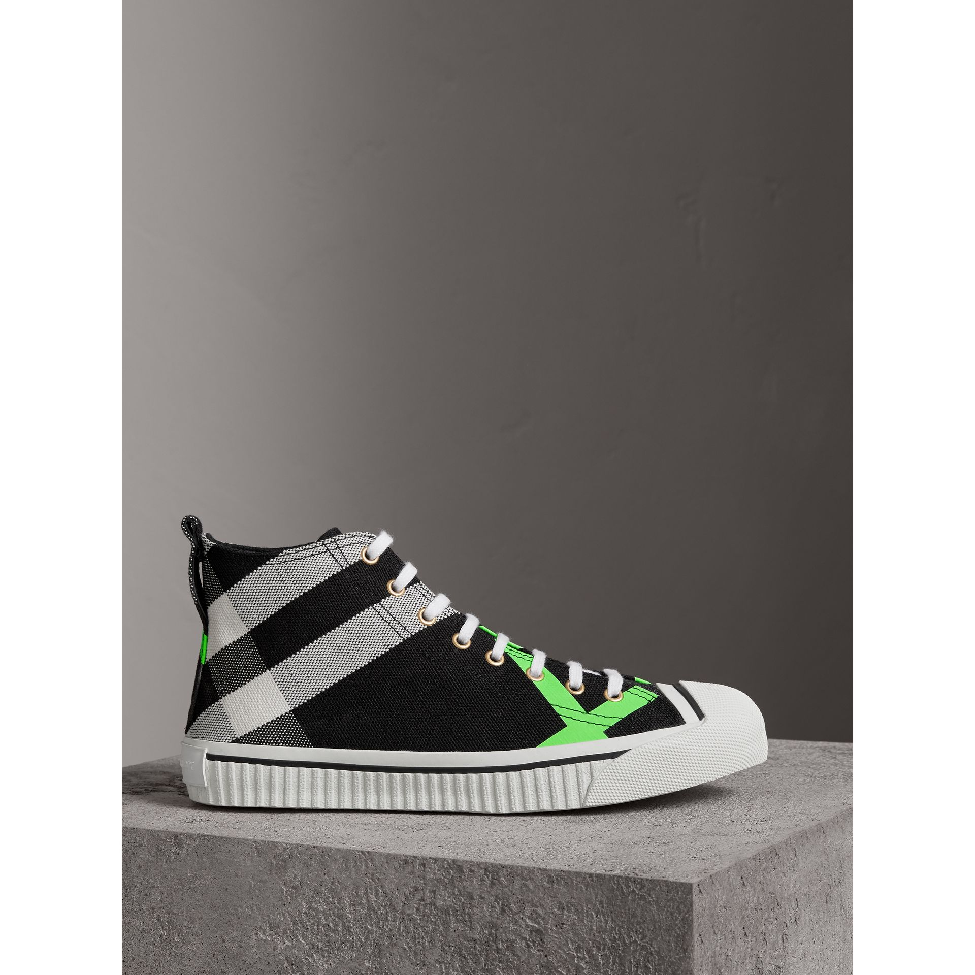 Burberry Black/Neon Green Canvas Check and Leather High-top Sneakers