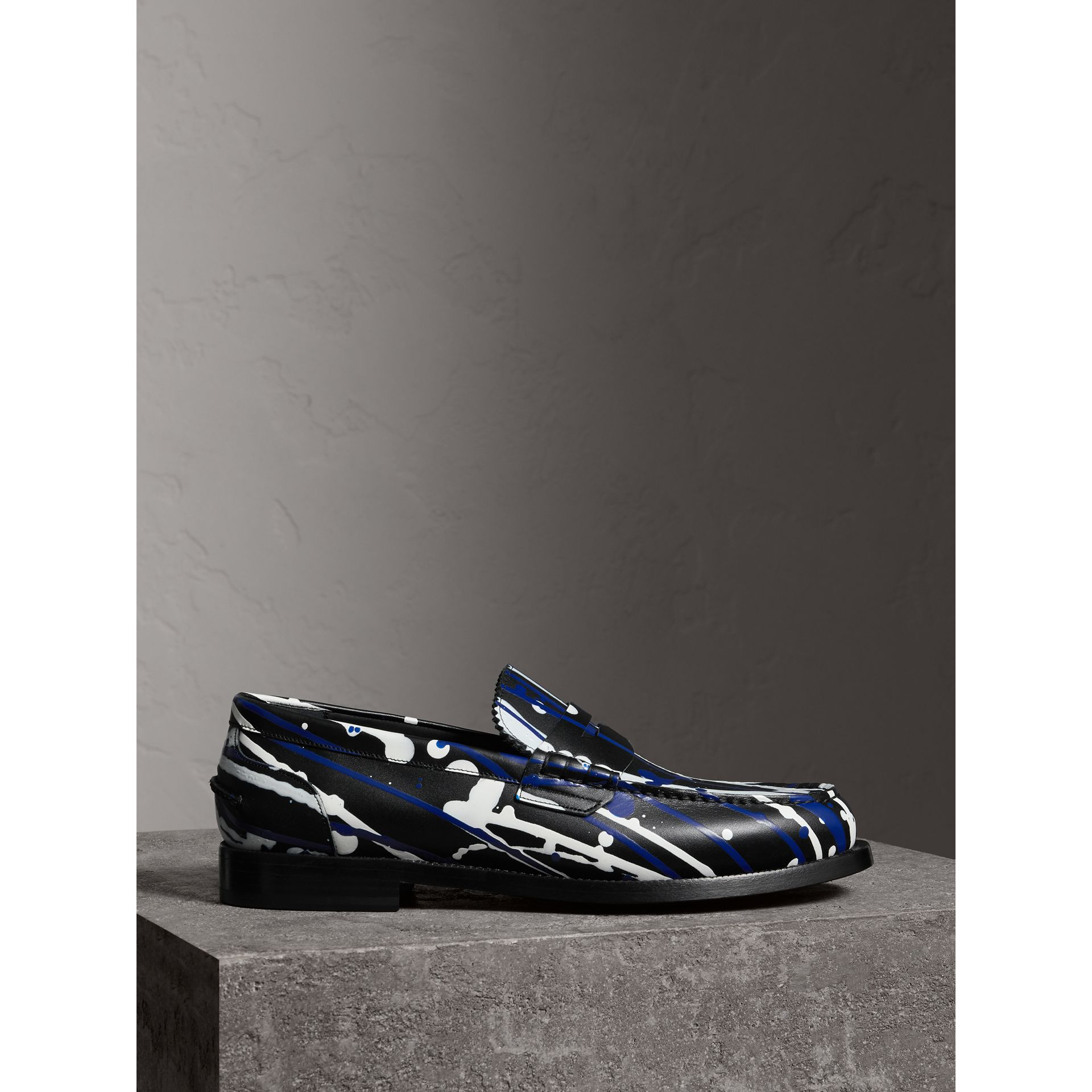 Burberry Black Splash Leather Penny Loafers