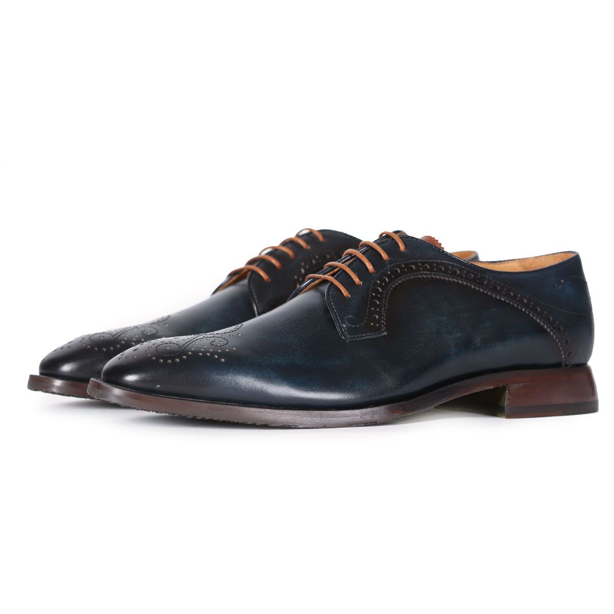 Oliver Sweeney Bonorva Navy - Antiqued Leather Derby Brogue