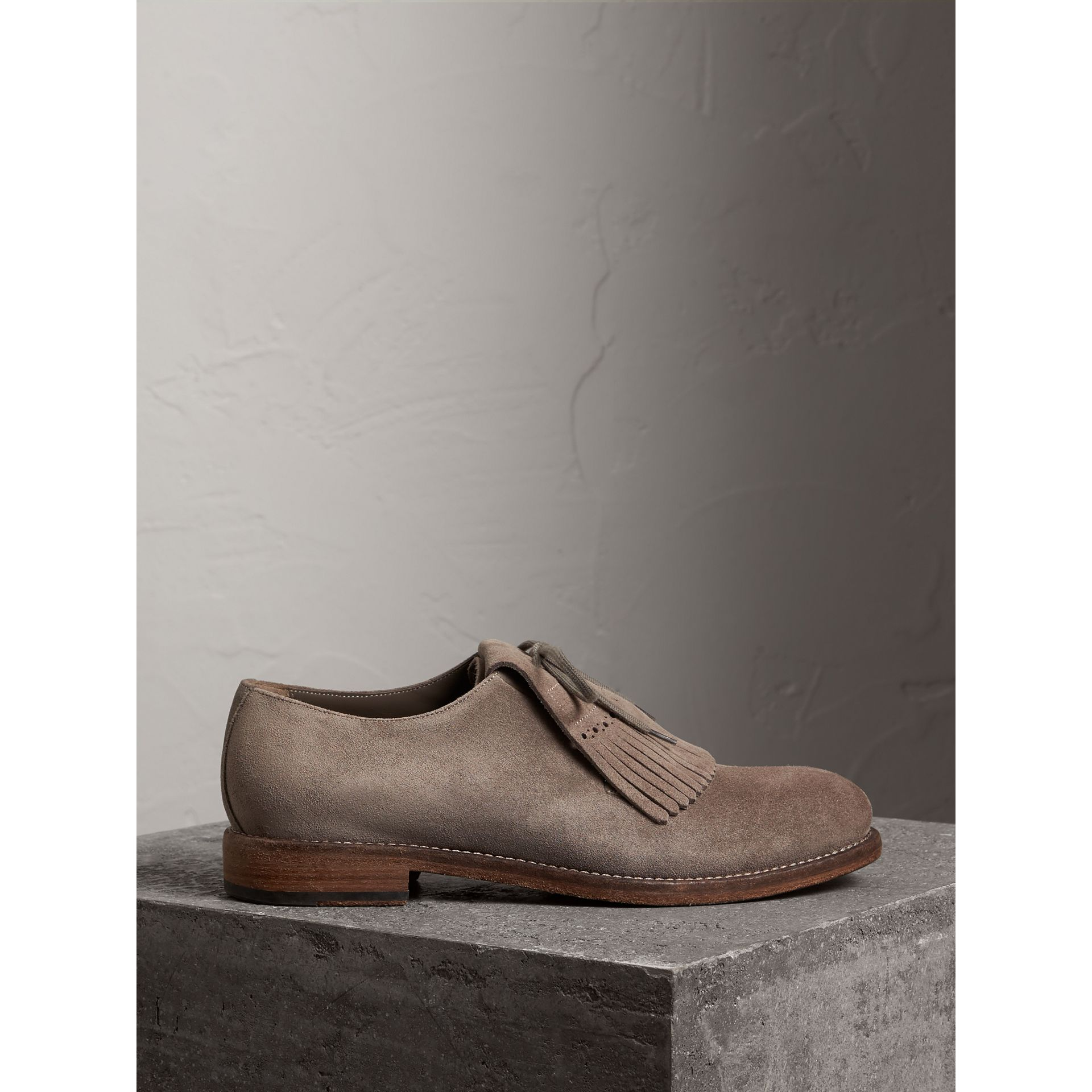 Burberry Steel Grey Lace-up Kiltie Fringe Suede Loafers