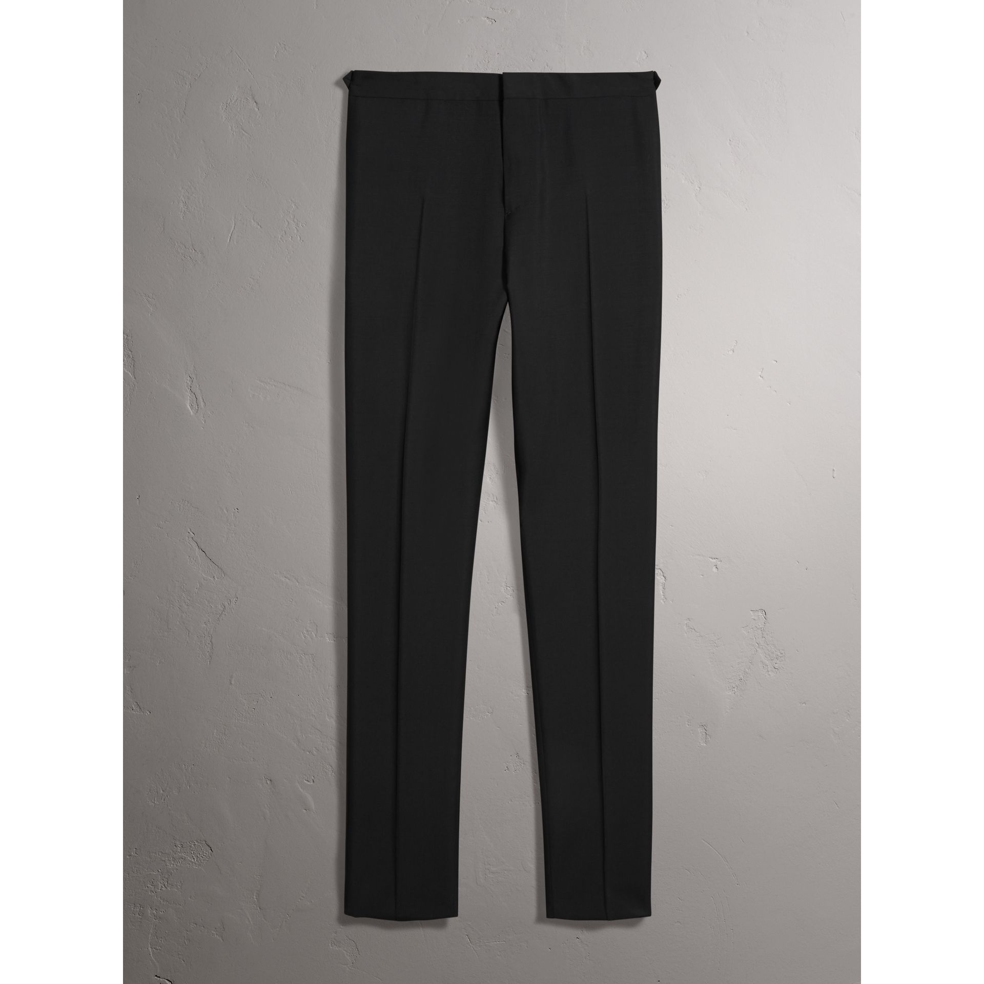 Burberry Black Slim Fit Wool Mohair Evening Trousers