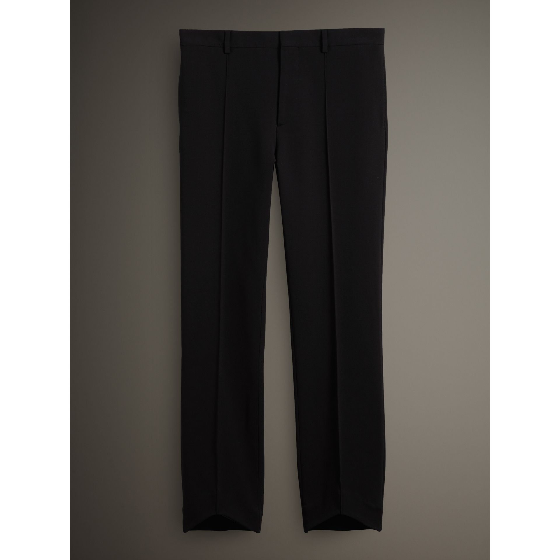 Burberry Black Jersey Cropped Tailored Riding Trousers