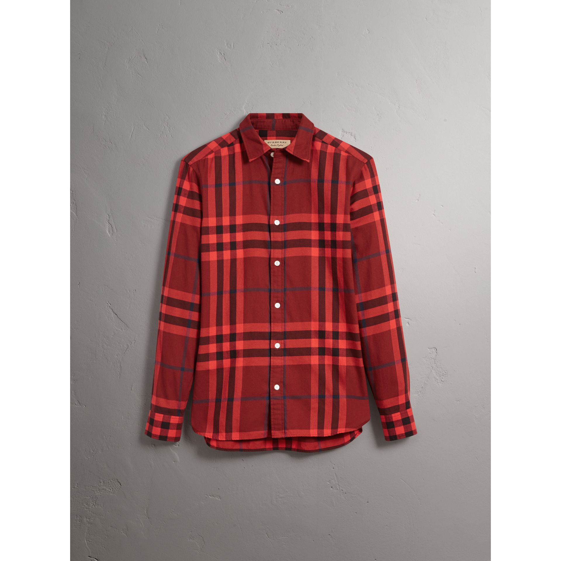 Burberry Mahogany Red Check Cotton Flannel Shirt