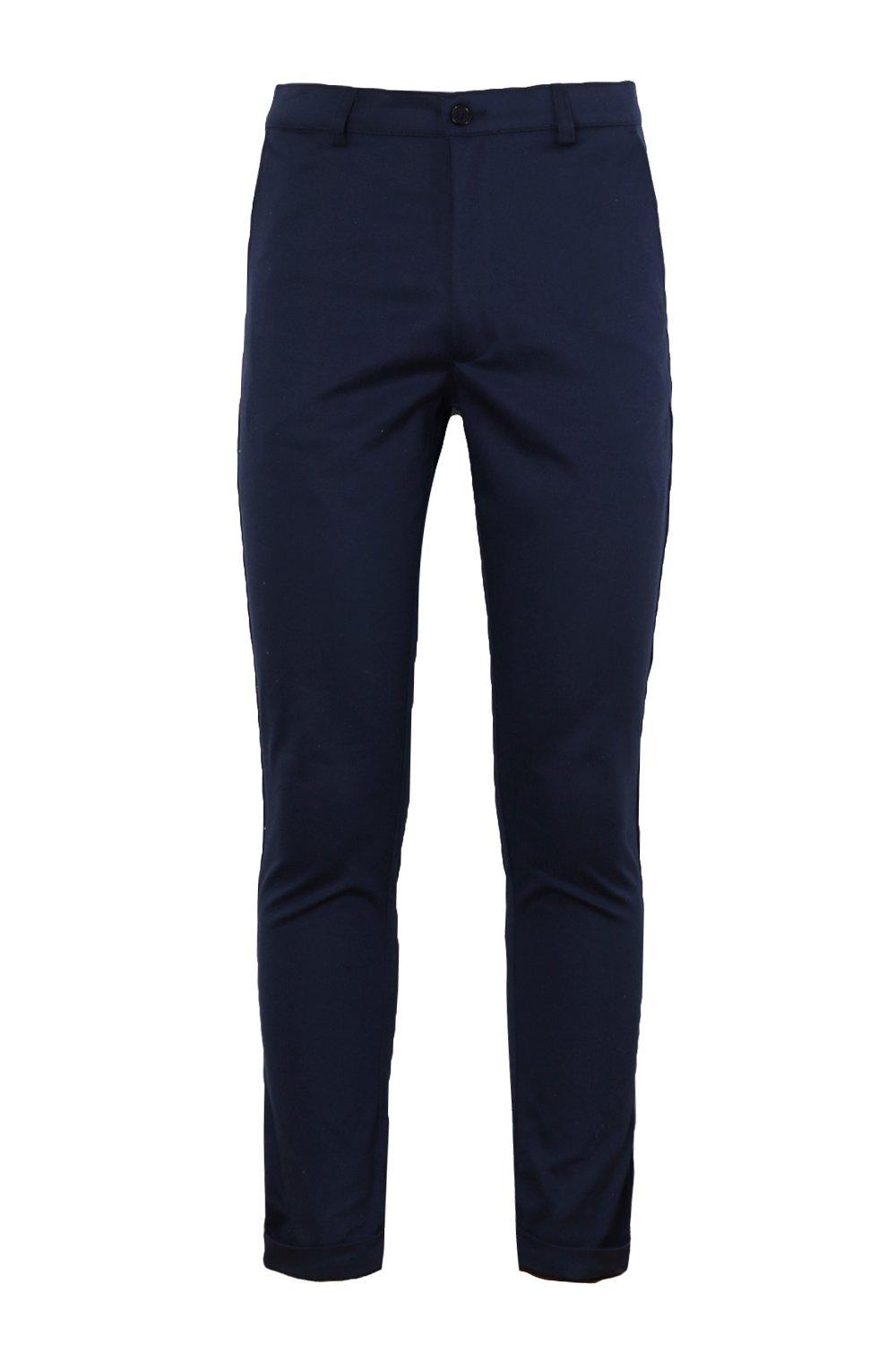 boohooMAN Navy Tapered Fit Chino With Stretch