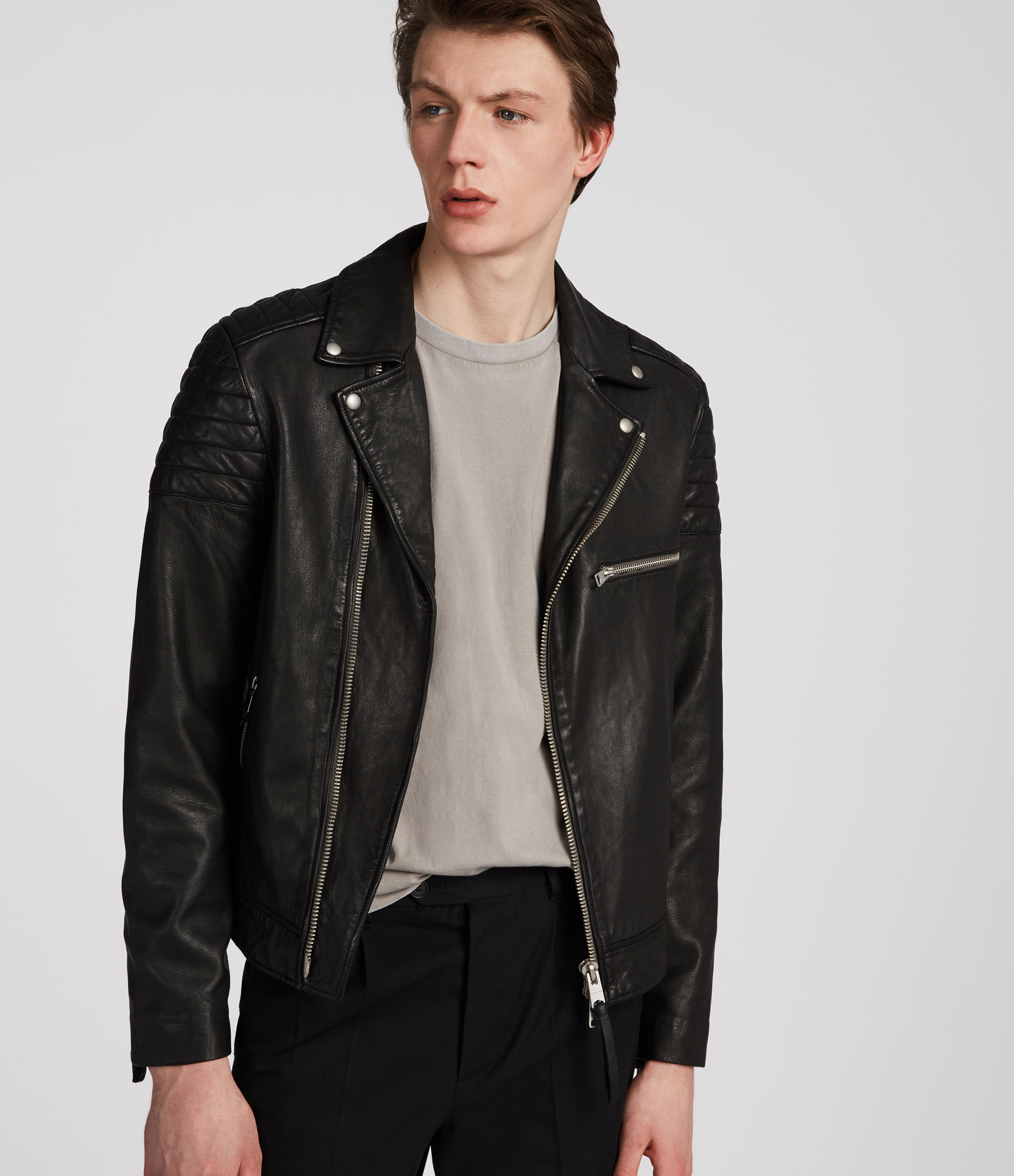 AllSaints Black Callahan Leather Biker Jacket