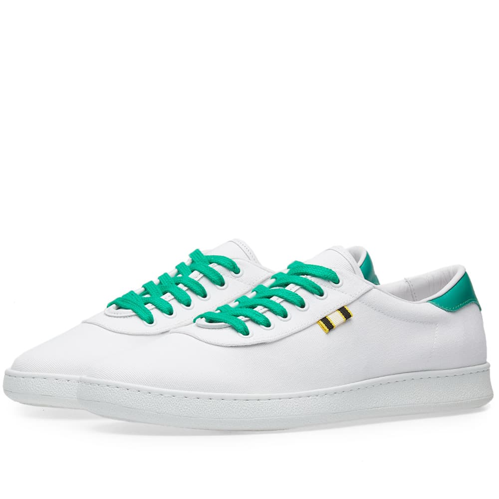 Aprix White & Kelly Green Canvas Low Sneaker