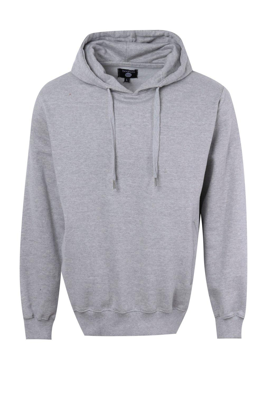 boohooMAN grey Over The Head Hoodie With Side Pockets