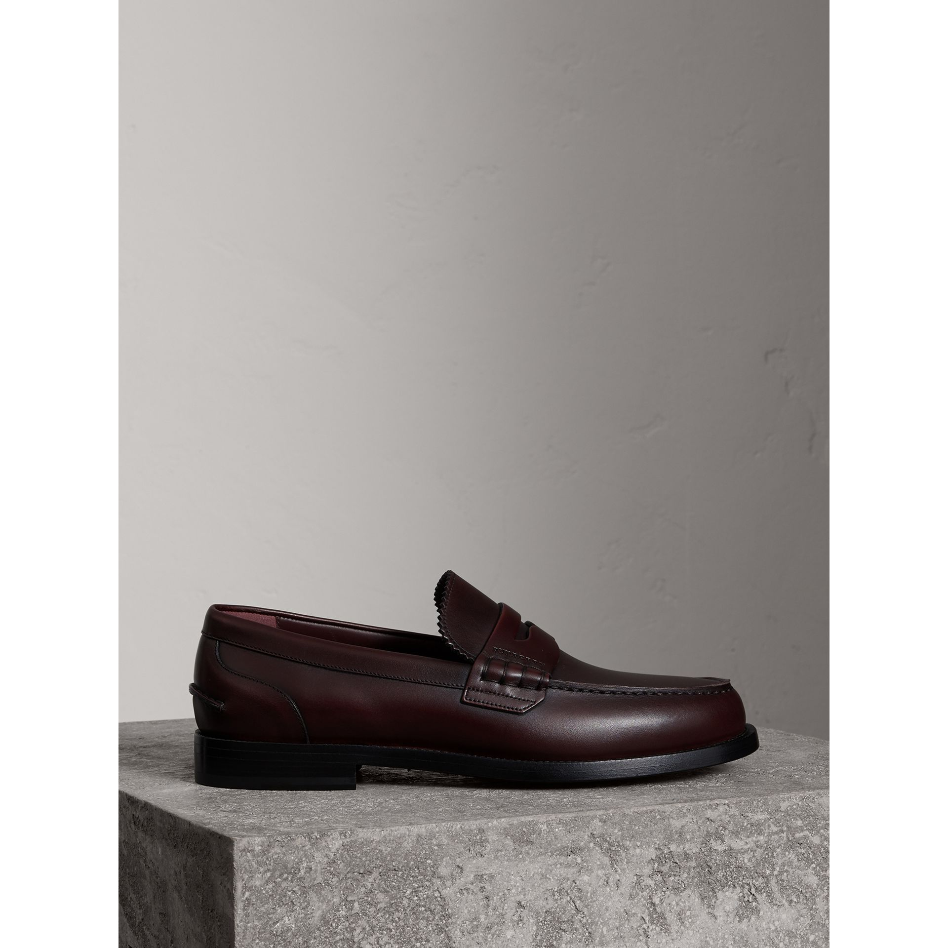 Burberry Bordeaux Leather Penny Loafers