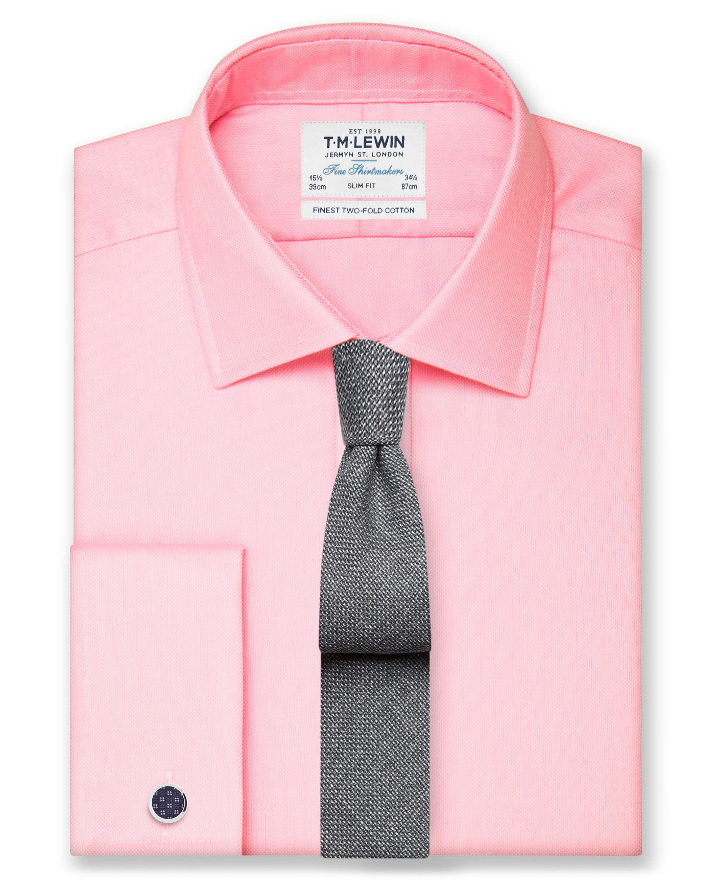 T.M.Lewin Slim Fit Pink Oxford Double Cuff Shirt
