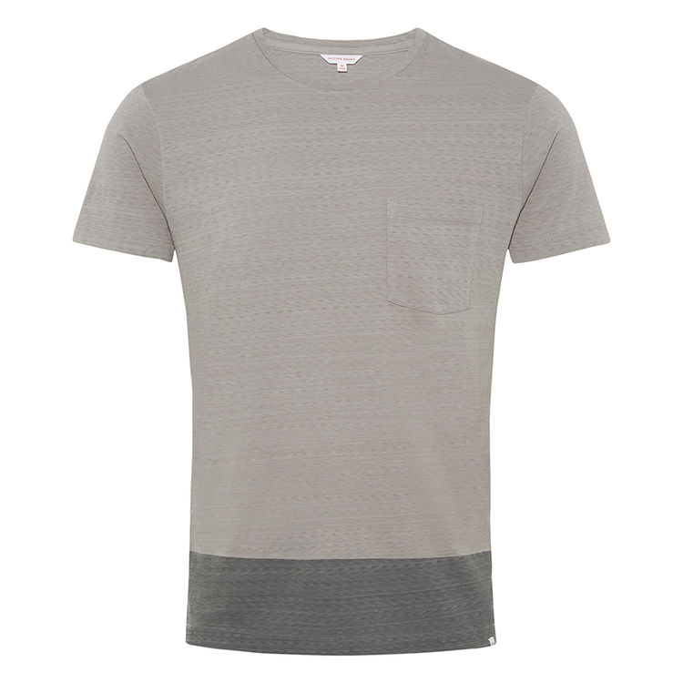 Orlebar Brown SAMMY Pale Grey/Charcoal Cotton Classic-Fit T-Shirt