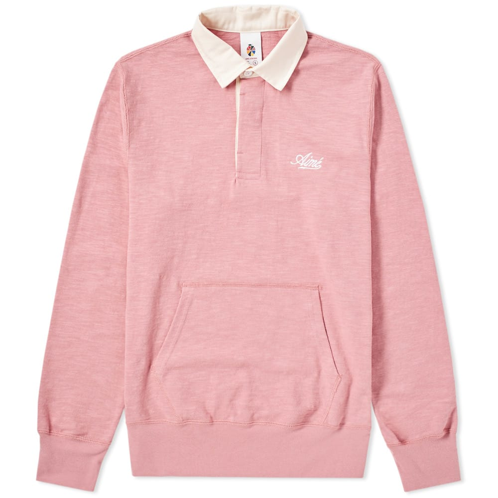 Aime Leon Dore Dusty Pink Pouch Pocket Rugby Top