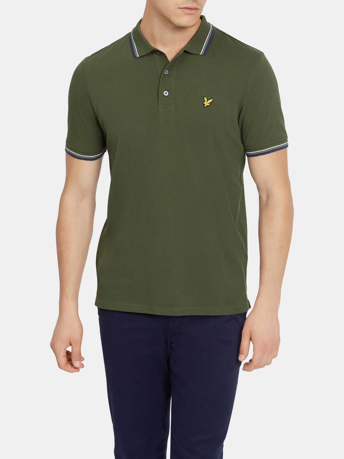 Lyle and Scott Leaf Green Tipped Polo Shirt