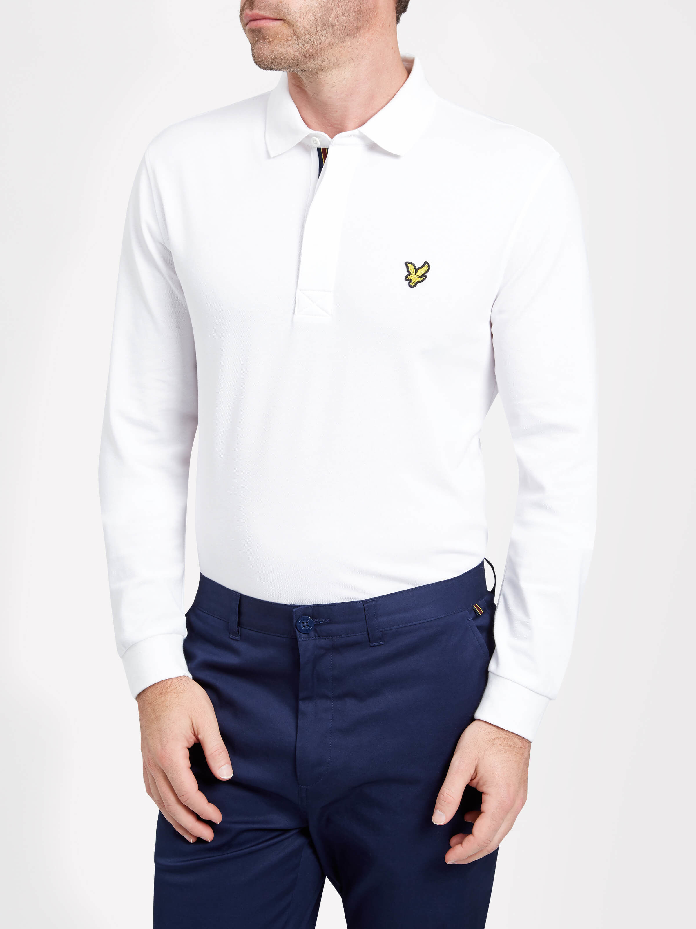 Lyle and Scott White Harris Long Sleeve Polo Shirt