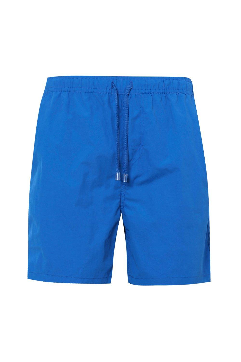 boohooMAN turquoise Mid Length Swim Short With Contrast Pocket