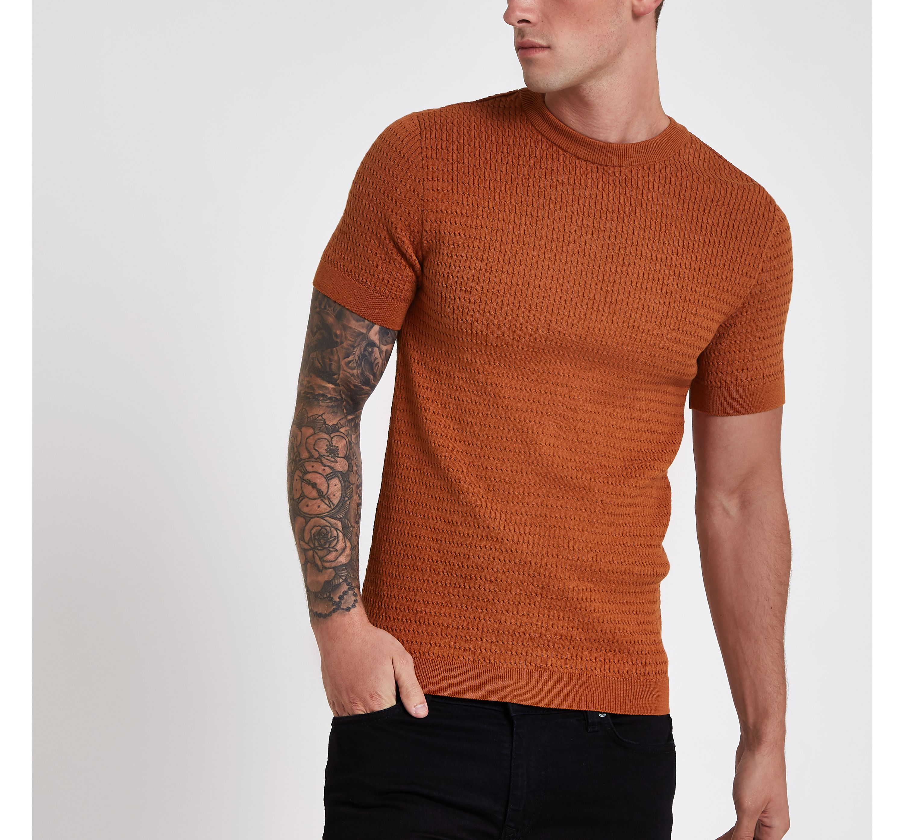 River Island Mens Dark Orange muscle fit cable knit T-shirt