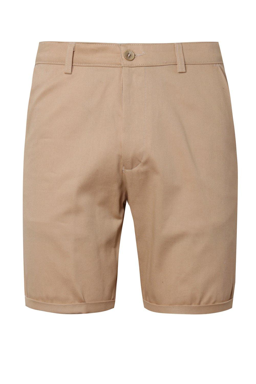 boohooMAN Mid Length Slim Fit Chino Shorts In Stone