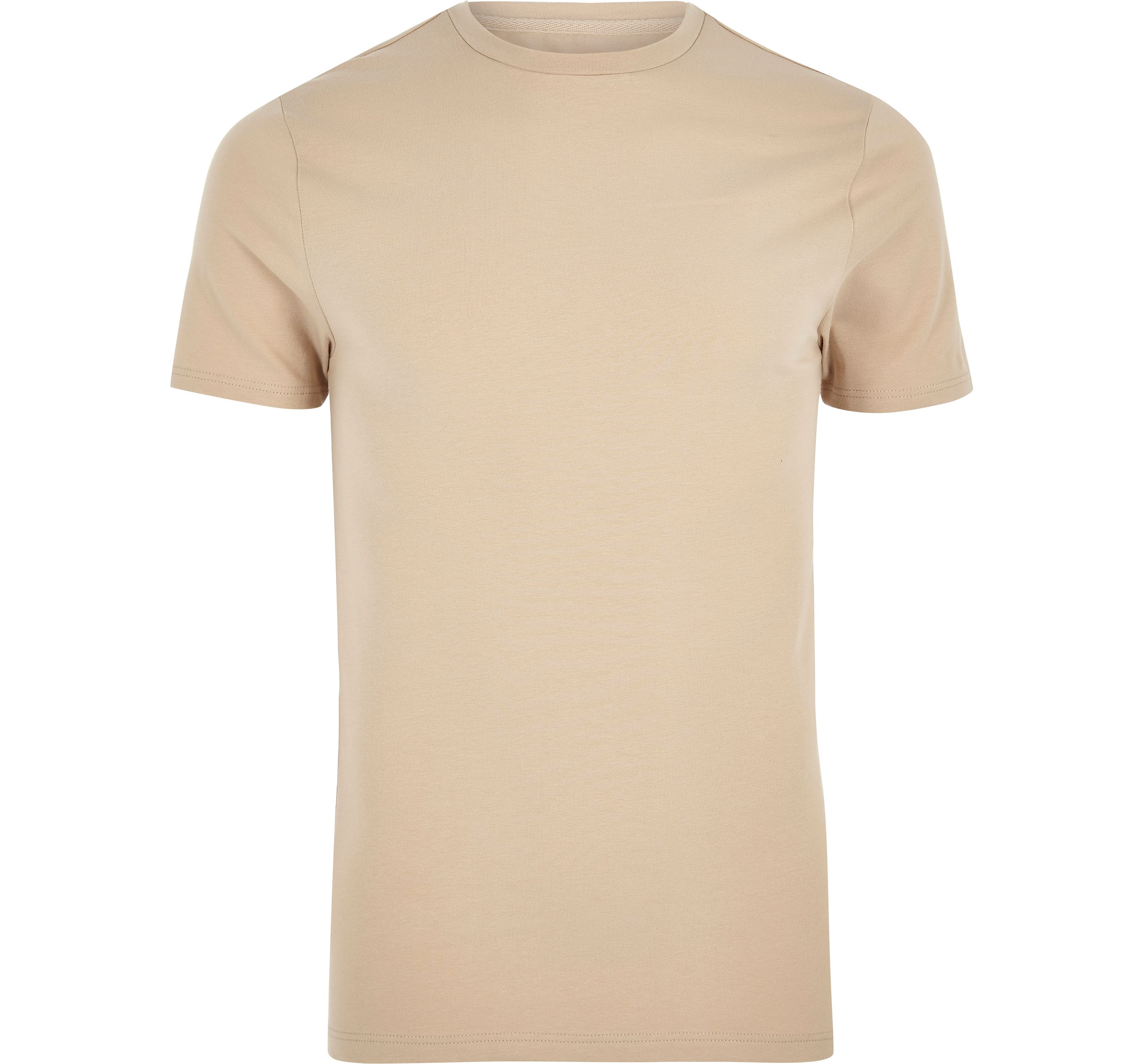 River Island Mens Light Brown muscle fit crew neck T-shirt