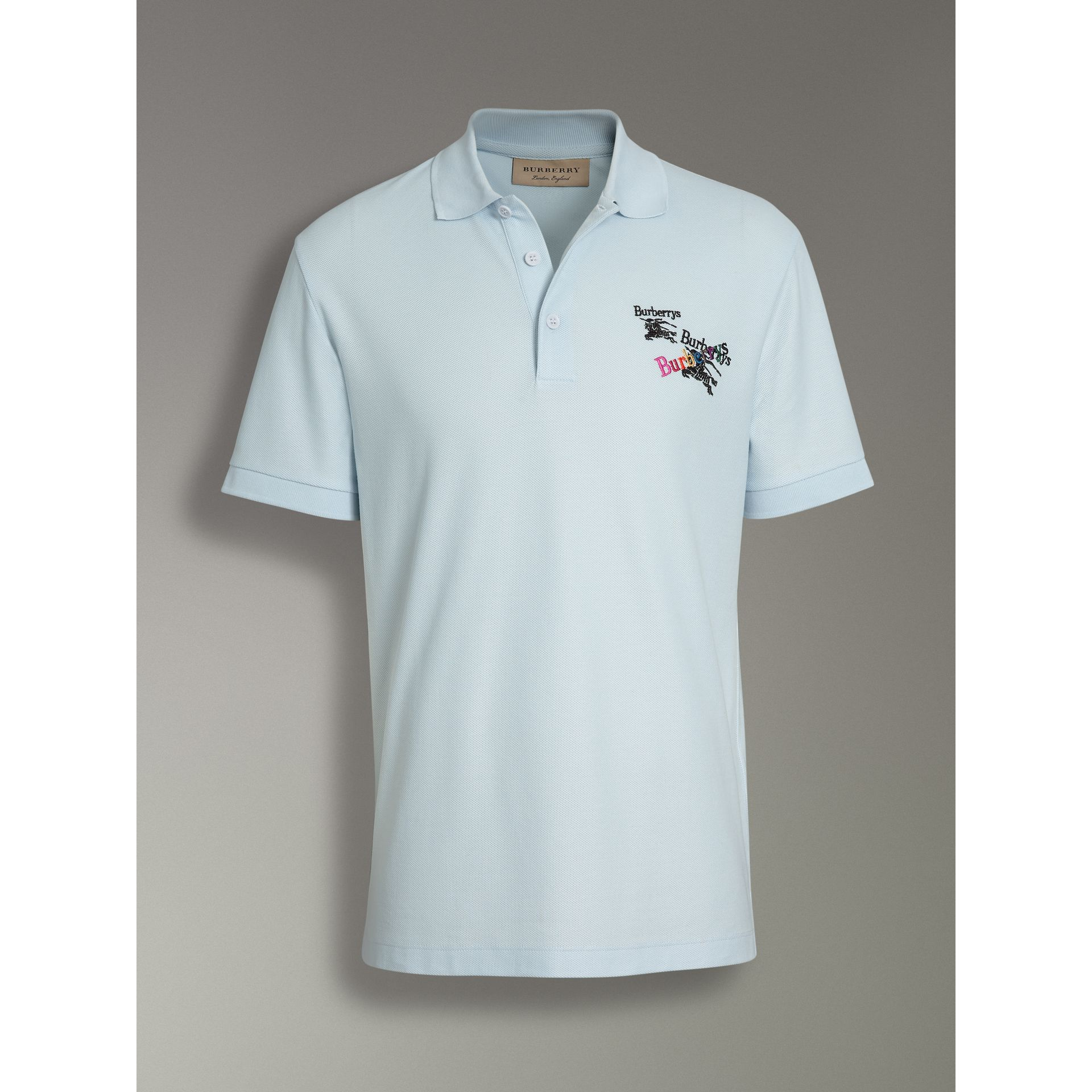 Burberry Pearl Blue Triple Archive Logo Cotton Piqué Polo Shirt