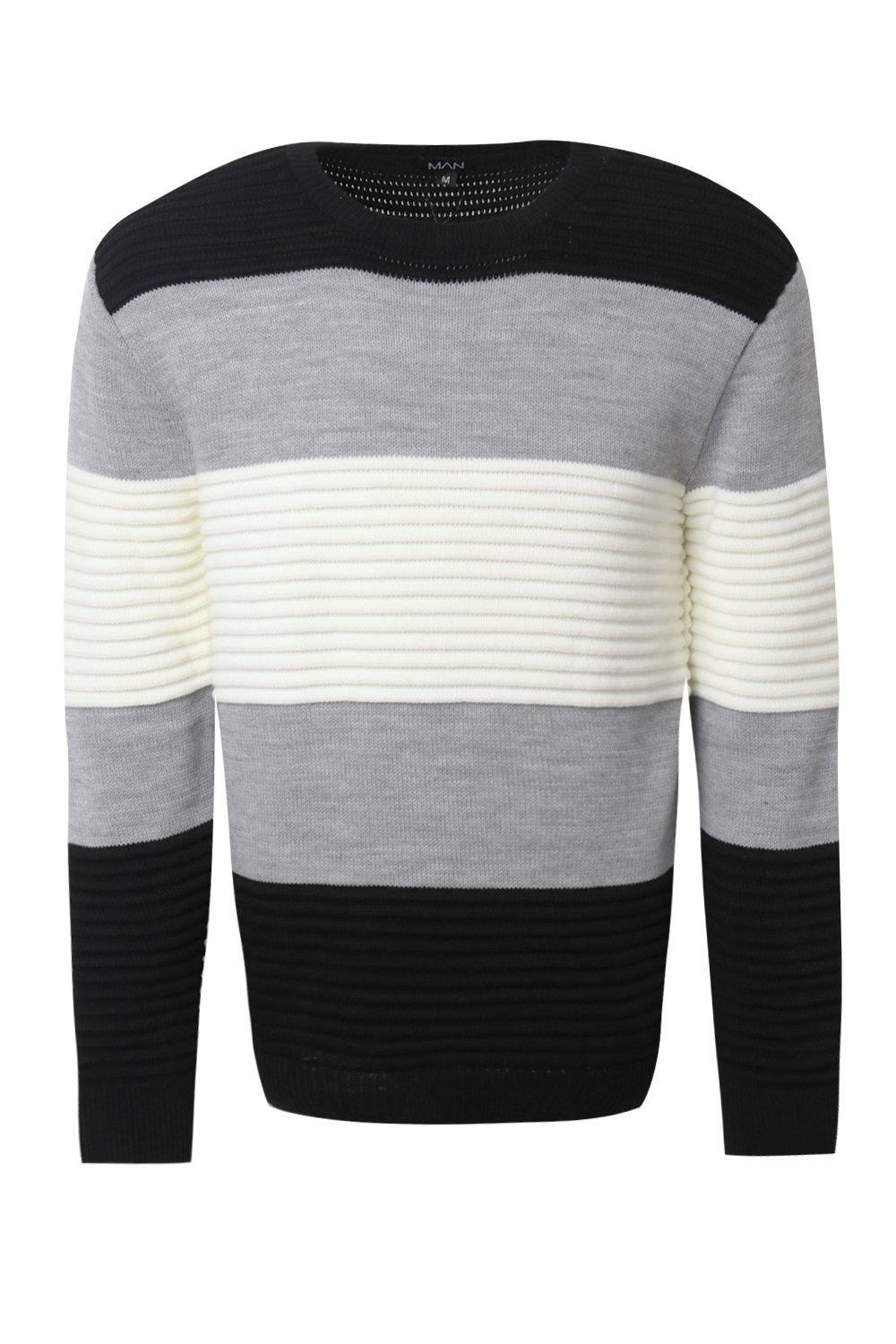 boohooMAN black Ottoman Rib Colour Block Knitted Jumper