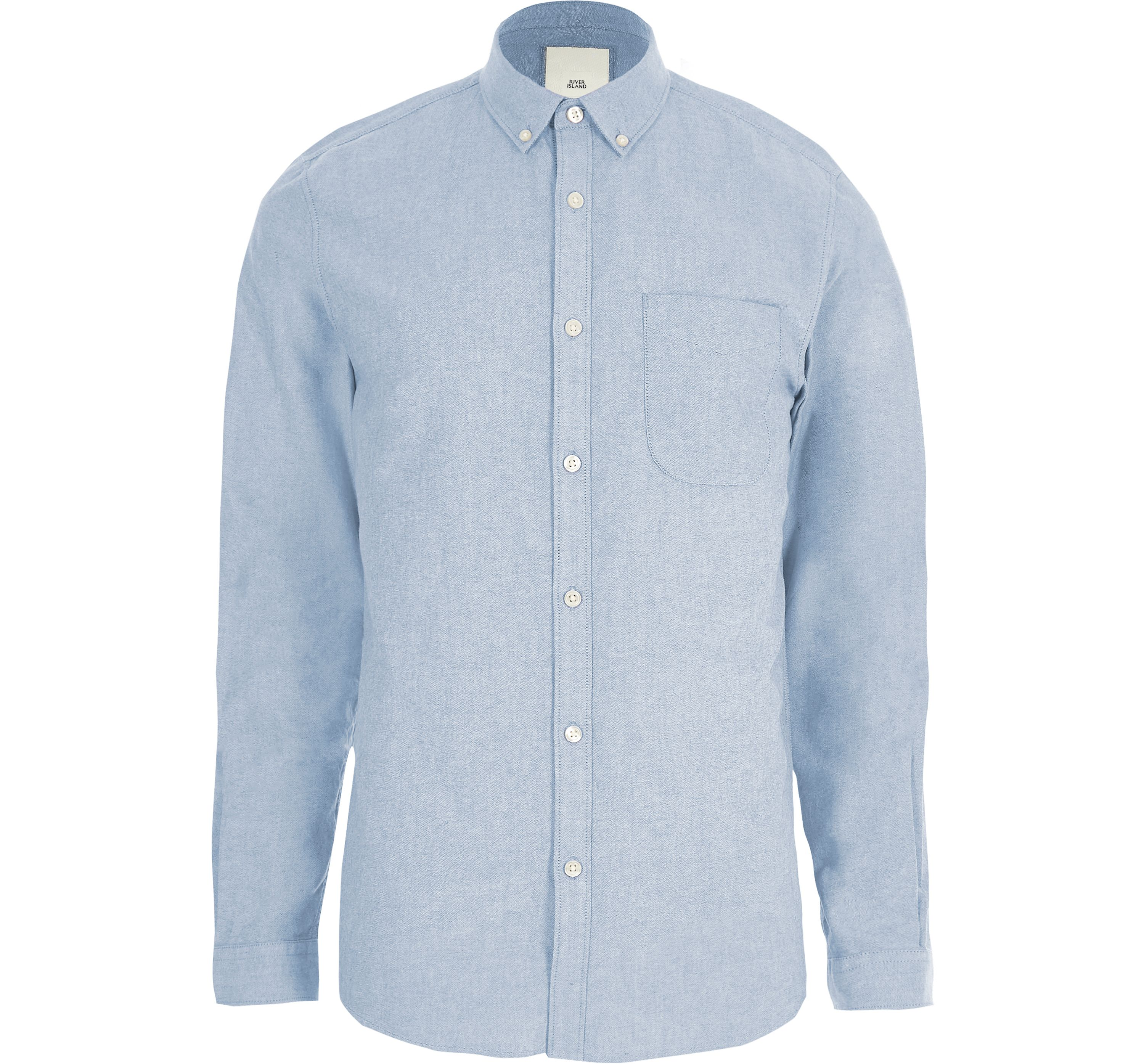 River Island Mens Light Blue long sleeve Oxford shirt