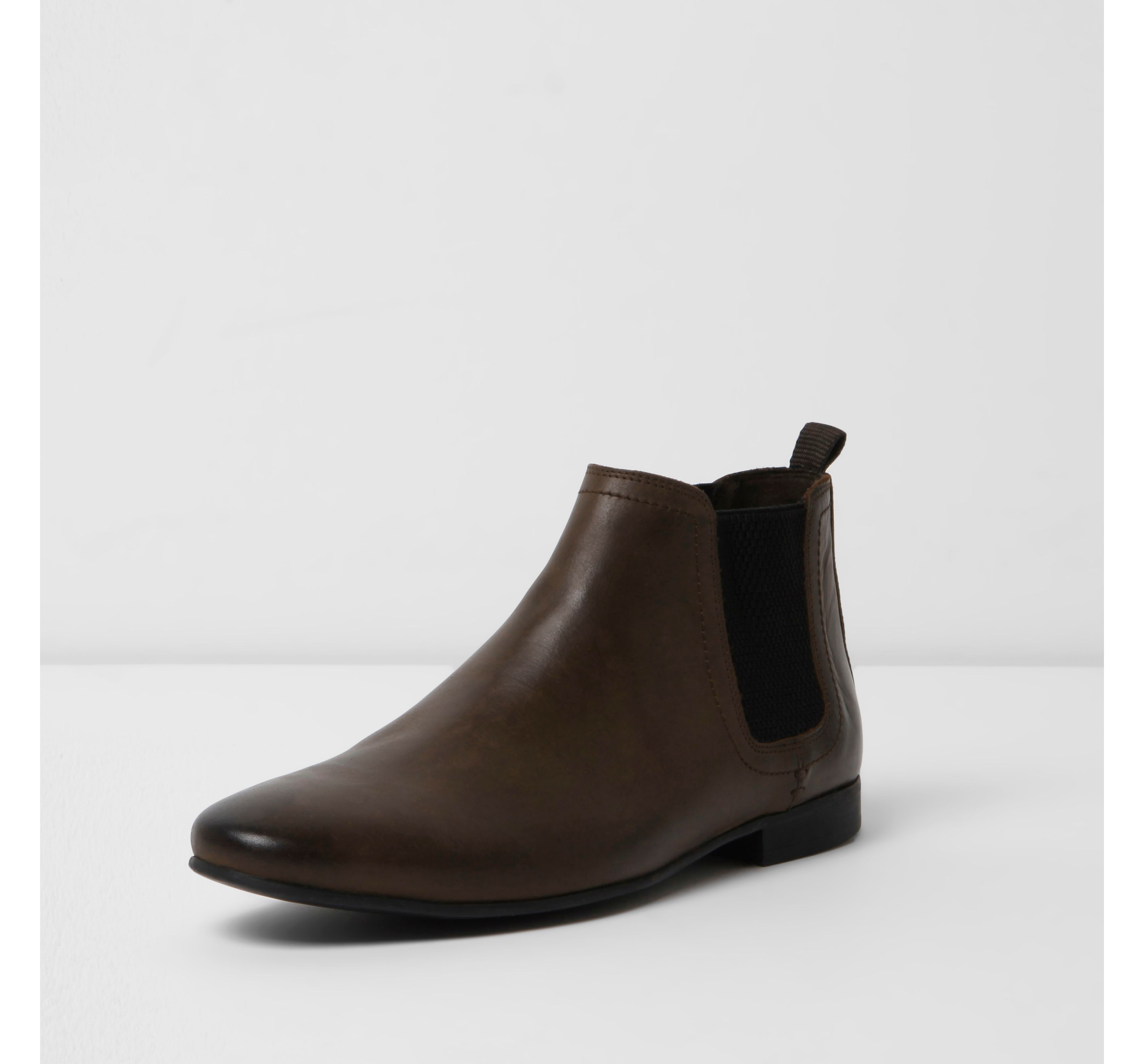 River Island Mens Dark Brown leather chelsea boots