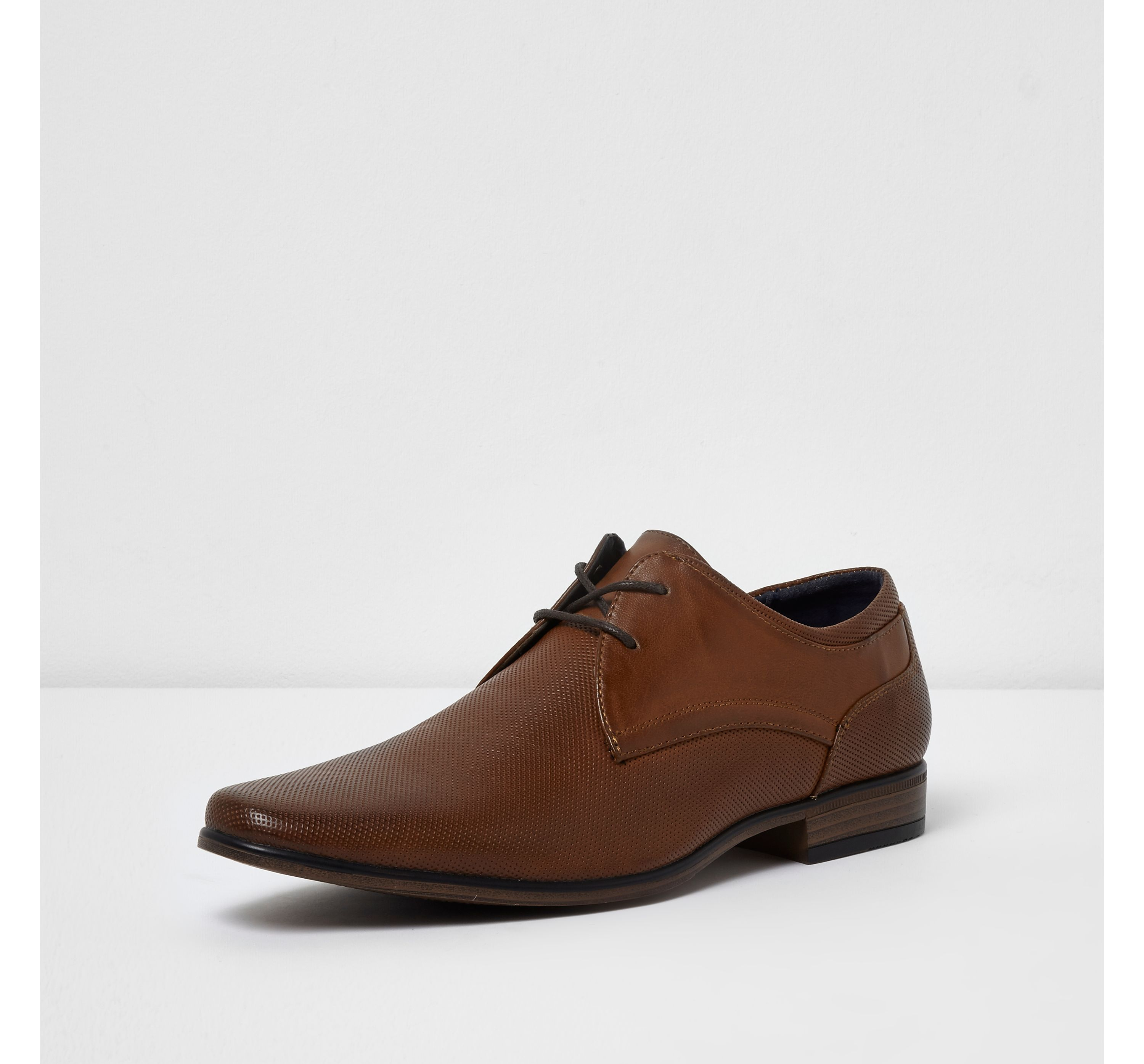 River Island Mens Tan perforated formal shoes
